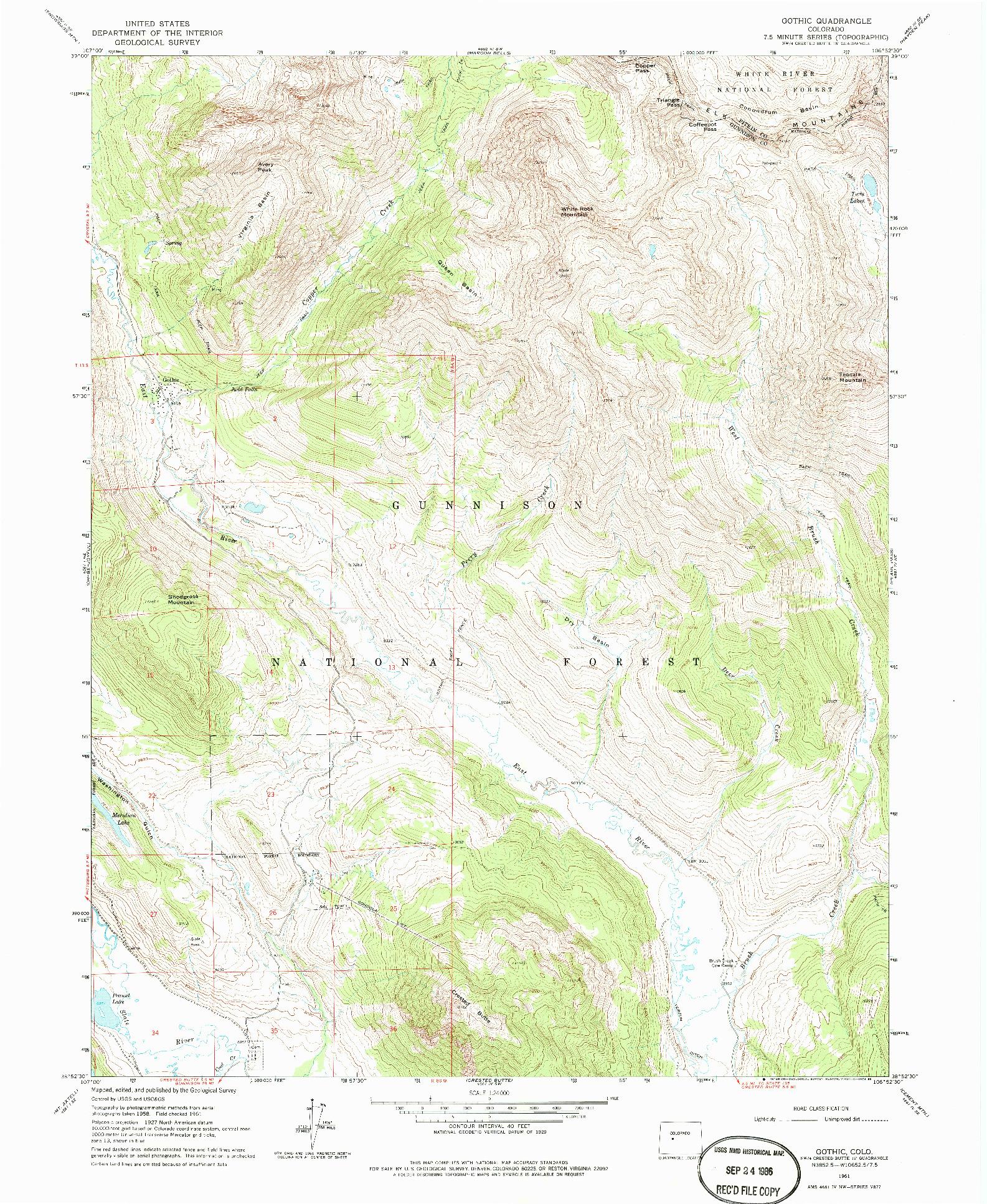 USGS 1:24000-SCALE QUADRANGLE FOR GOTHIC, CO 1961