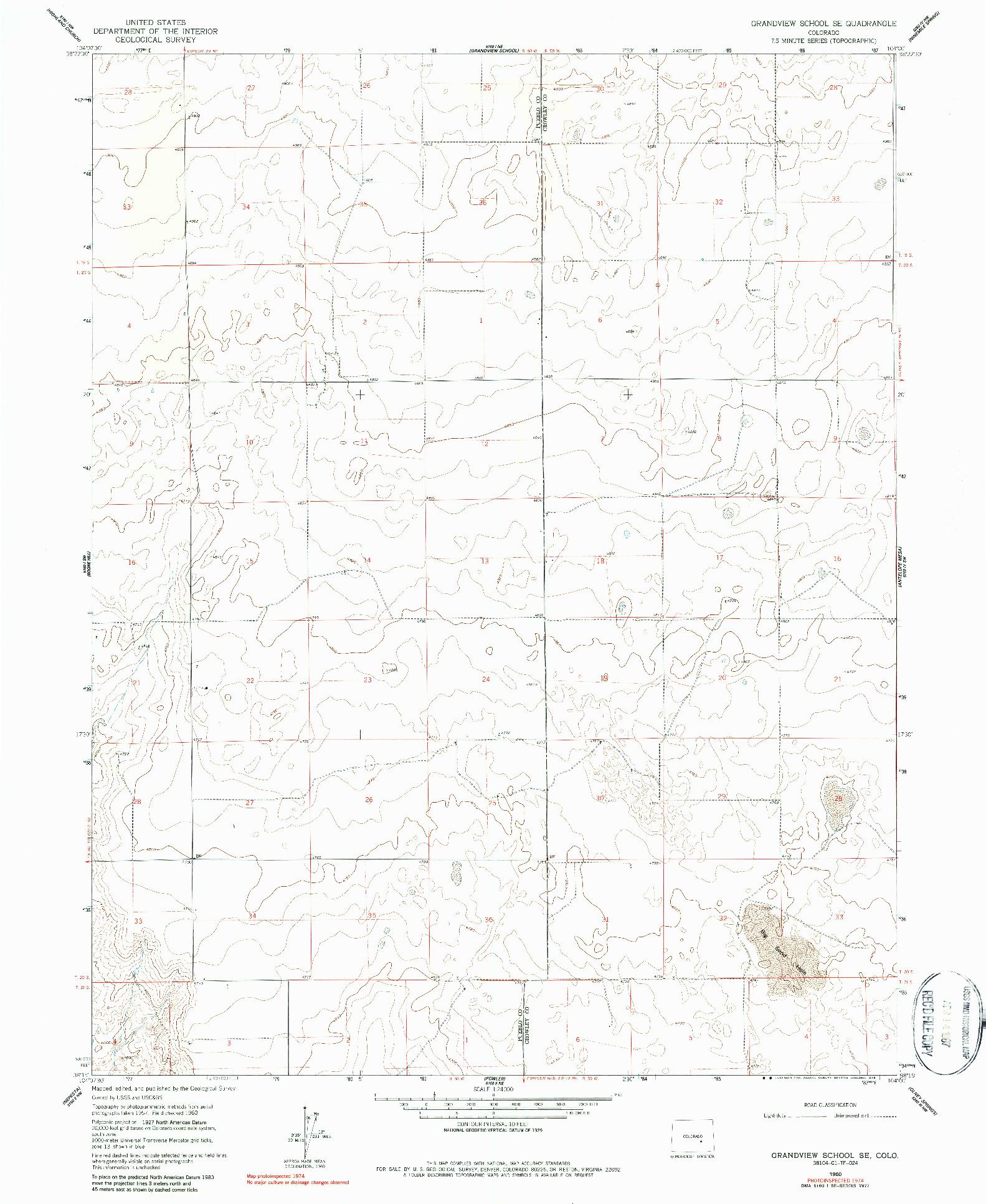 USGS 1:24000-SCALE QUADRANGLE FOR GRANDVIEW SCHOOL SE, CO 1960