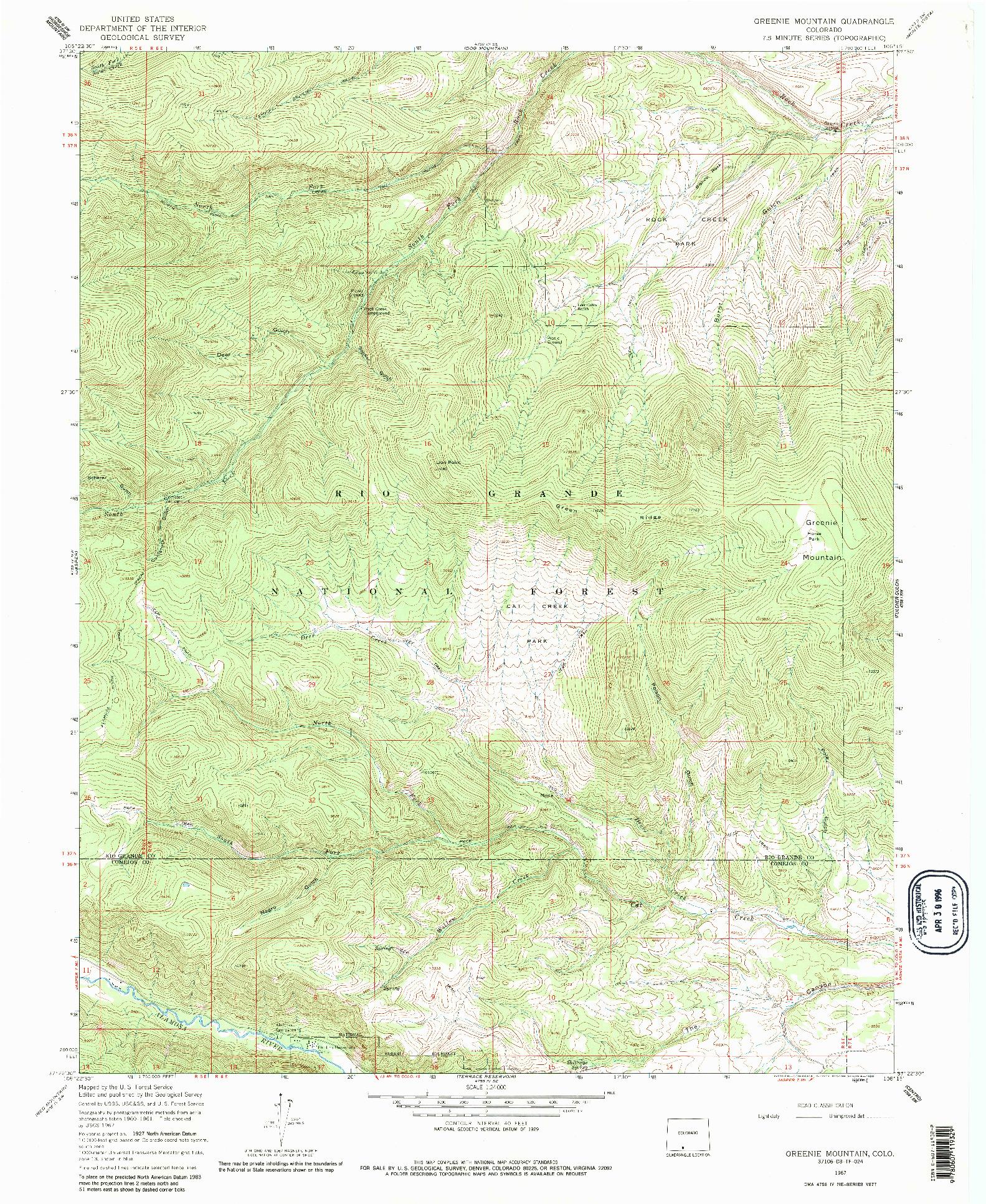 USGS 1:24000-SCALE QUADRANGLE FOR GREENIE MOUNTAIN, CO 1967
