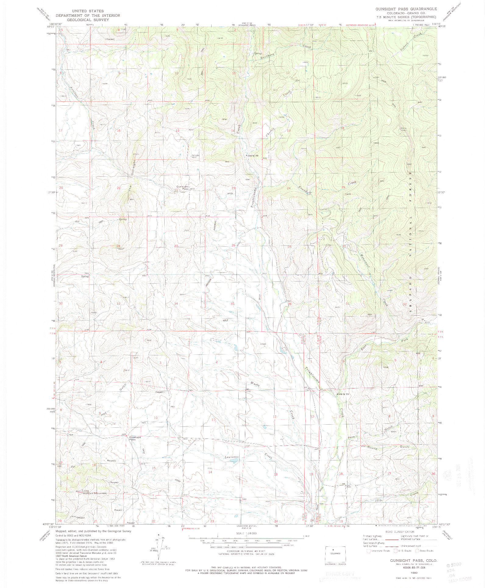 USGS 1:24000-SCALE QUADRANGLE FOR GUNSIGHT PASS, CO 1980