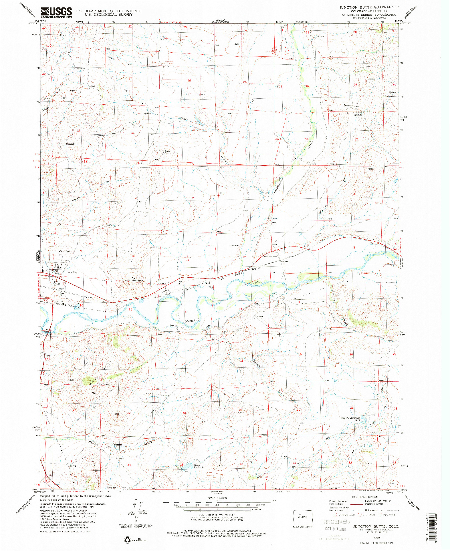 USGS 1:24000-SCALE QUADRANGLE FOR JUNCTION BUTTE, CO 1980
