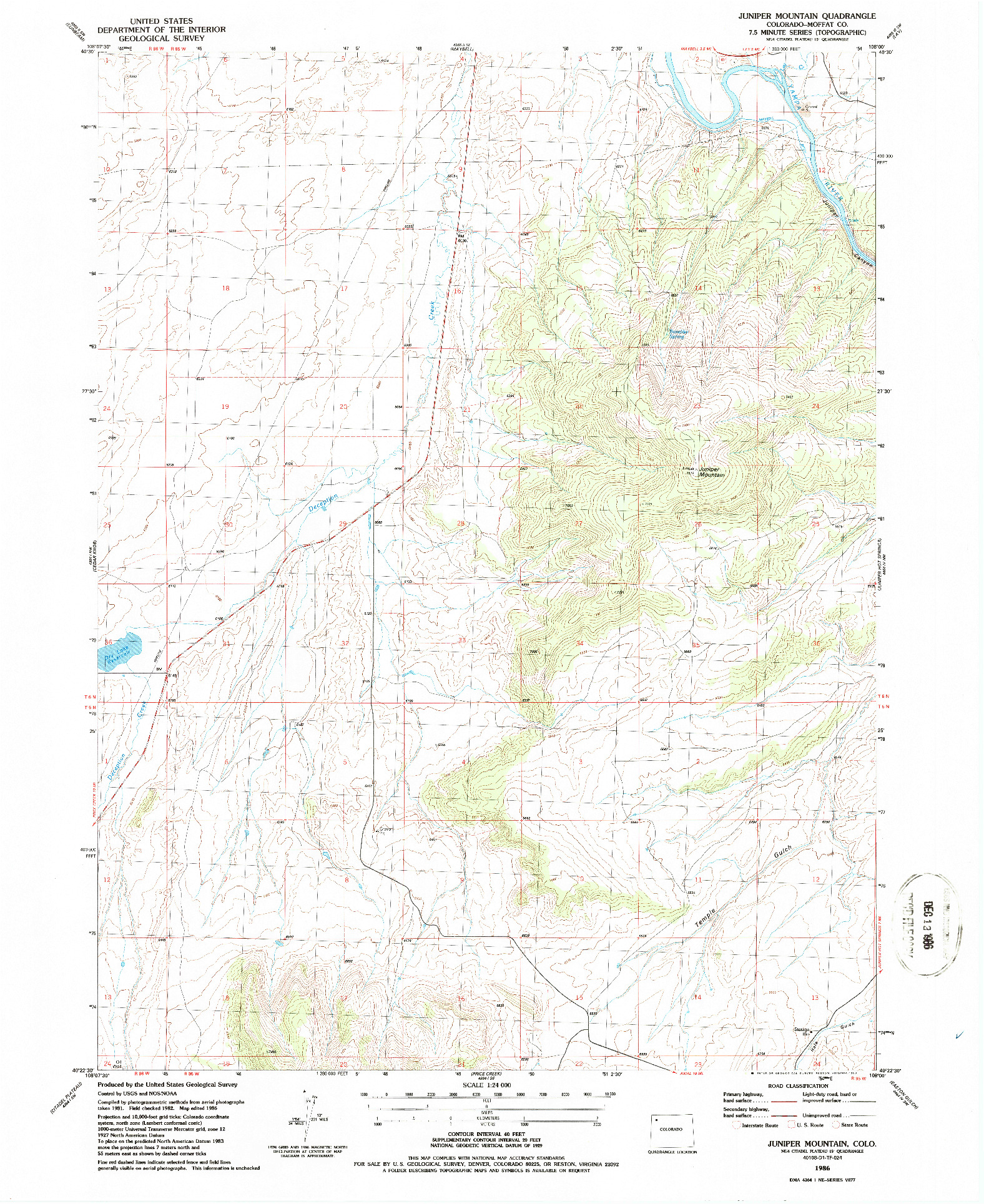 USGS 1:24000-SCALE QUADRANGLE FOR JUNIPER MOUNTAIN, CO 1986