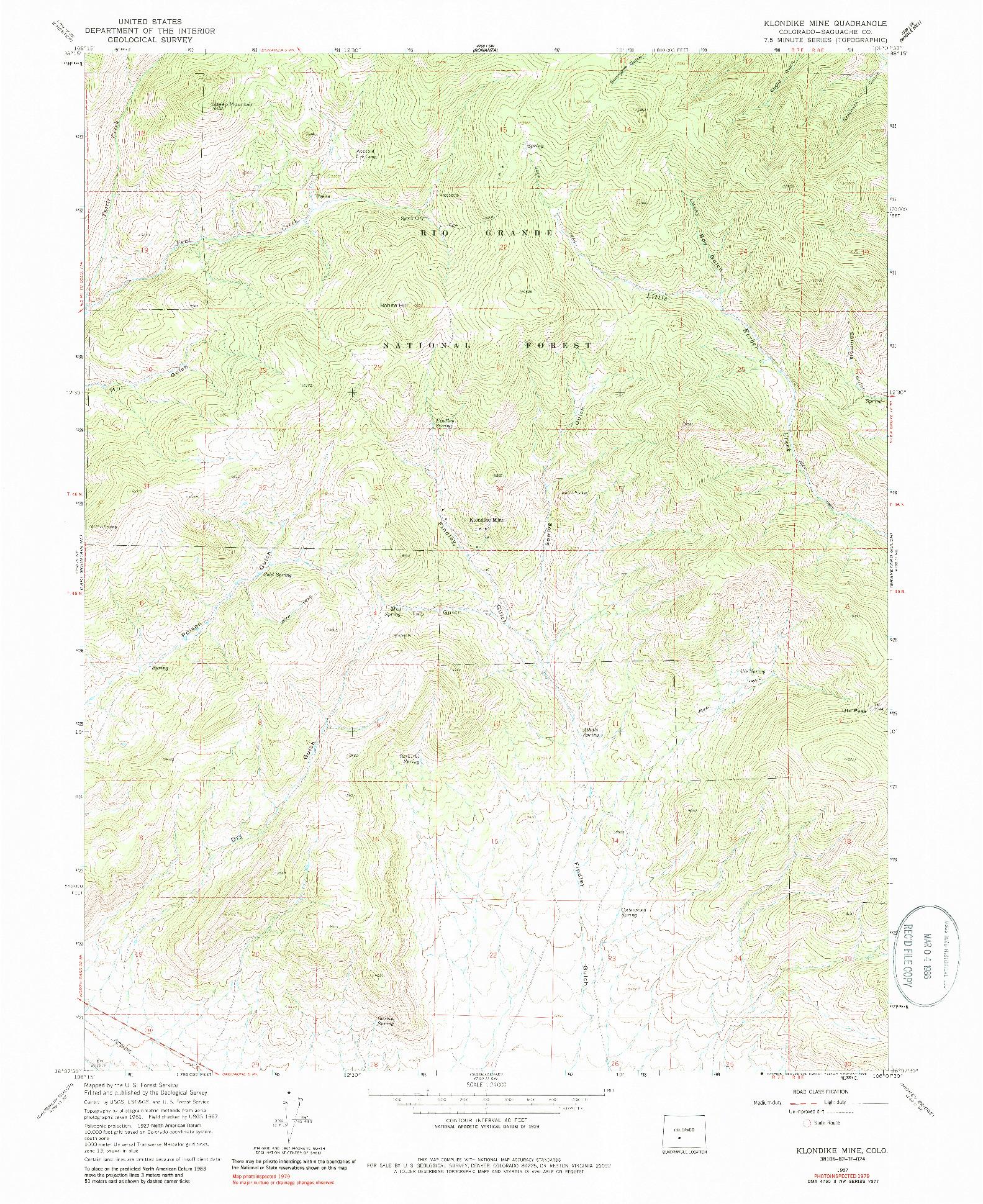 USGS 1:24000-SCALE QUADRANGLE FOR KLONDIKE MINE, CO 1967
