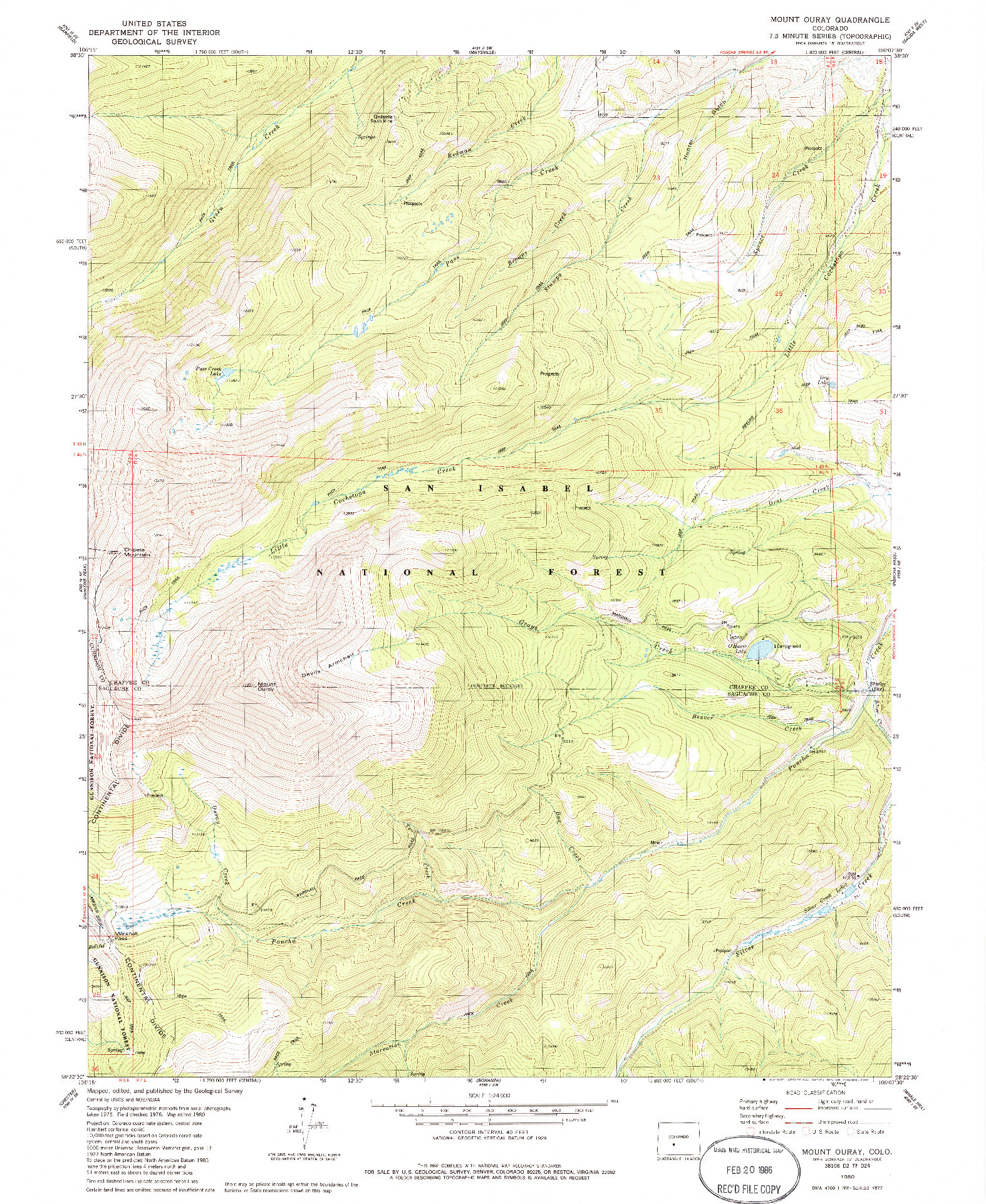 USGS 1:24000-SCALE QUADRANGLE FOR MOUNT OURAY, CO 1980