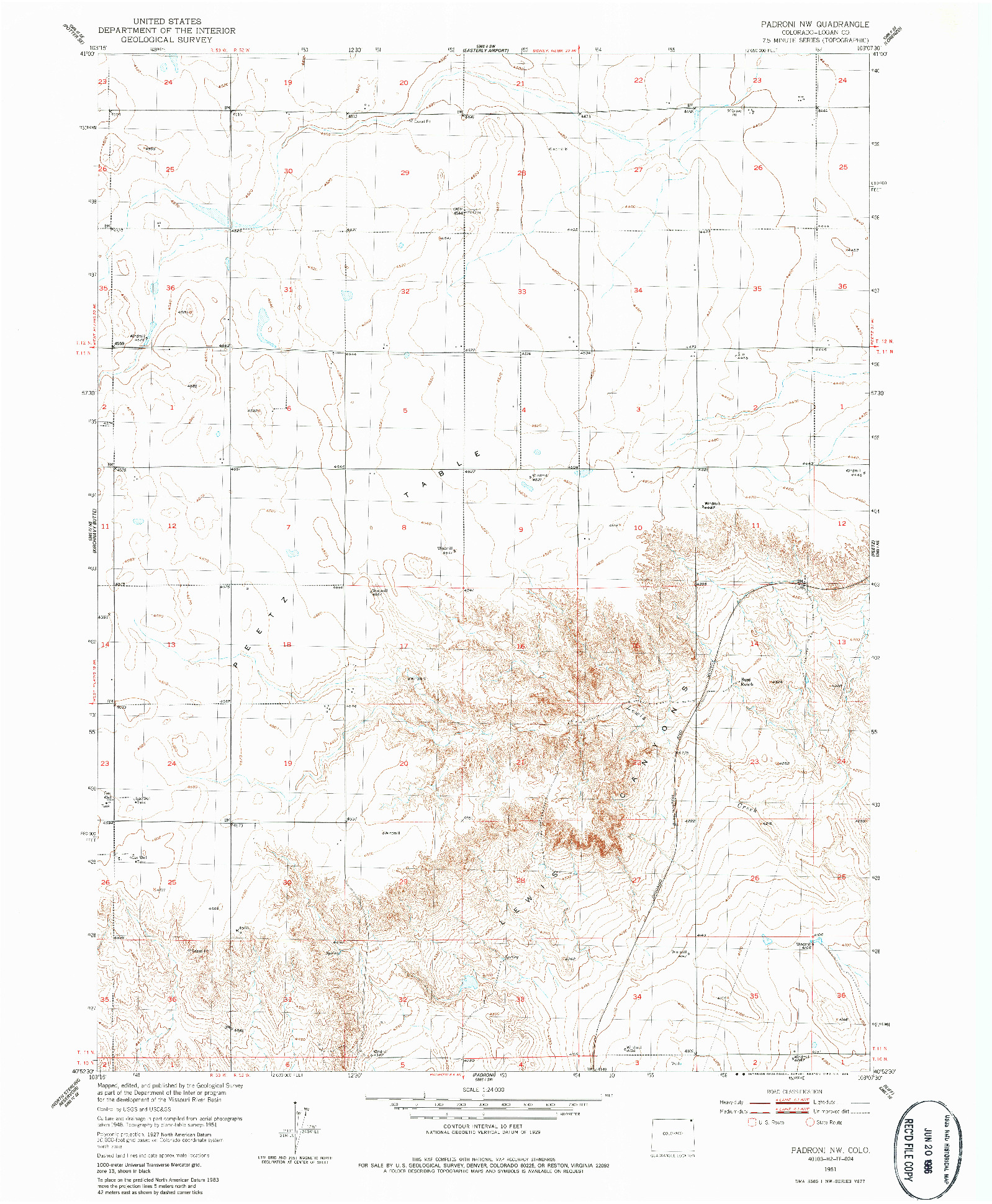USGS 1:24000-SCALE QUADRANGLE FOR PADRONI NW, CO 1951