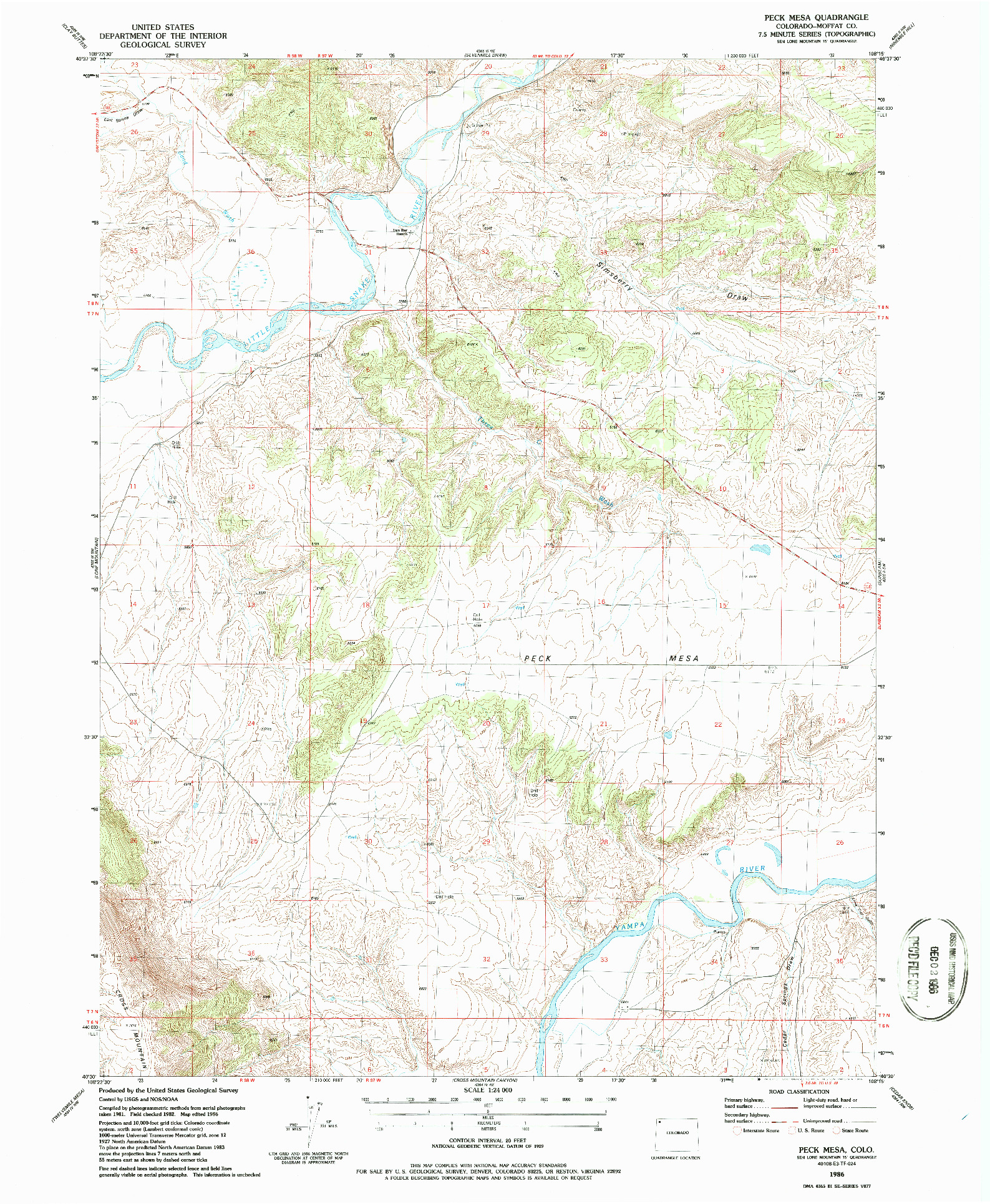USGS 1:24000-SCALE QUADRANGLE FOR PECK MESA, CO 1986