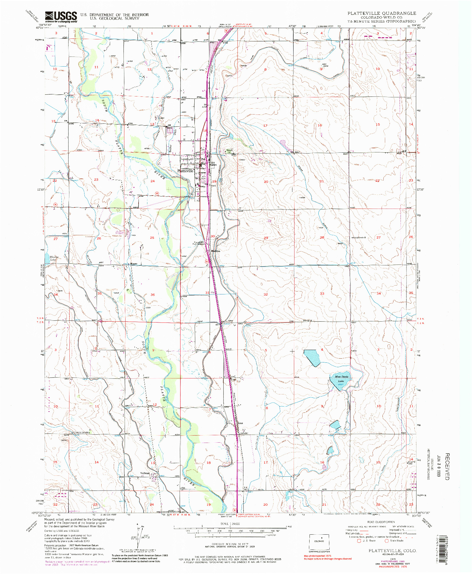 USGS 1:24000-SCALE QUADRANGLE FOR PLATTEVILLE, CO 1949