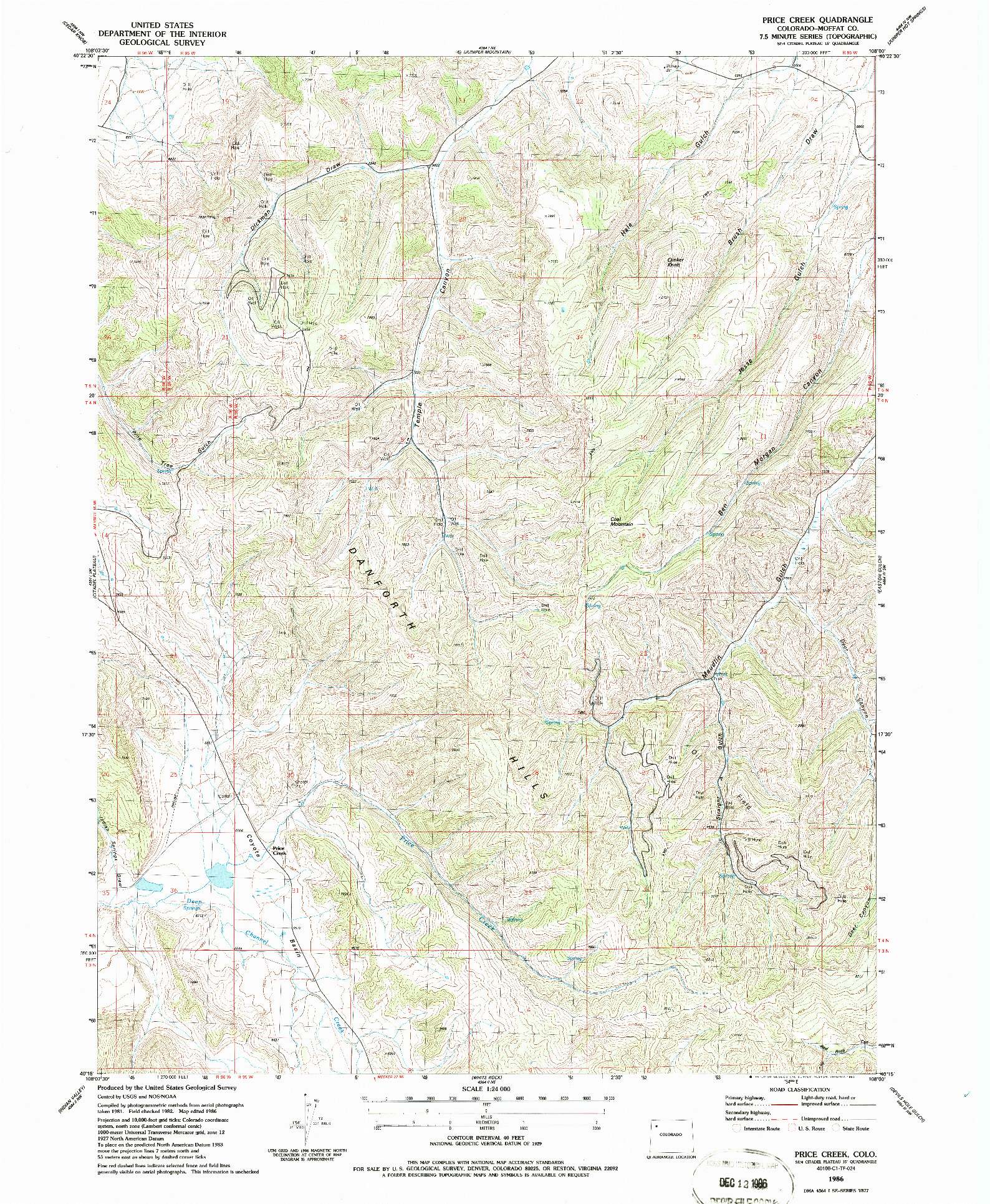 USGS 1:24000-SCALE QUADRANGLE FOR PRICE CREEK, CO 1986