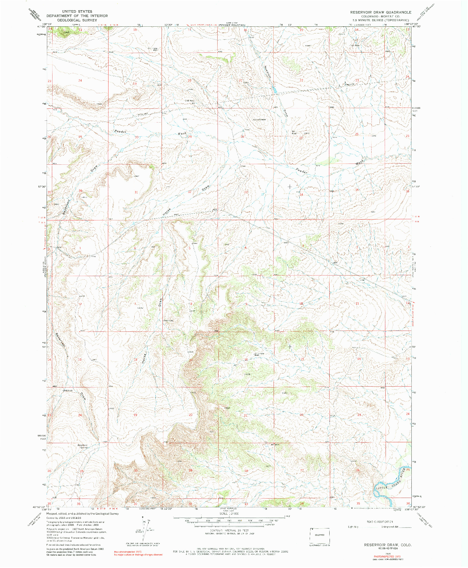 USGS 1:24000-SCALE QUADRANGLE FOR RESERVOIR DRAW, CO 1969