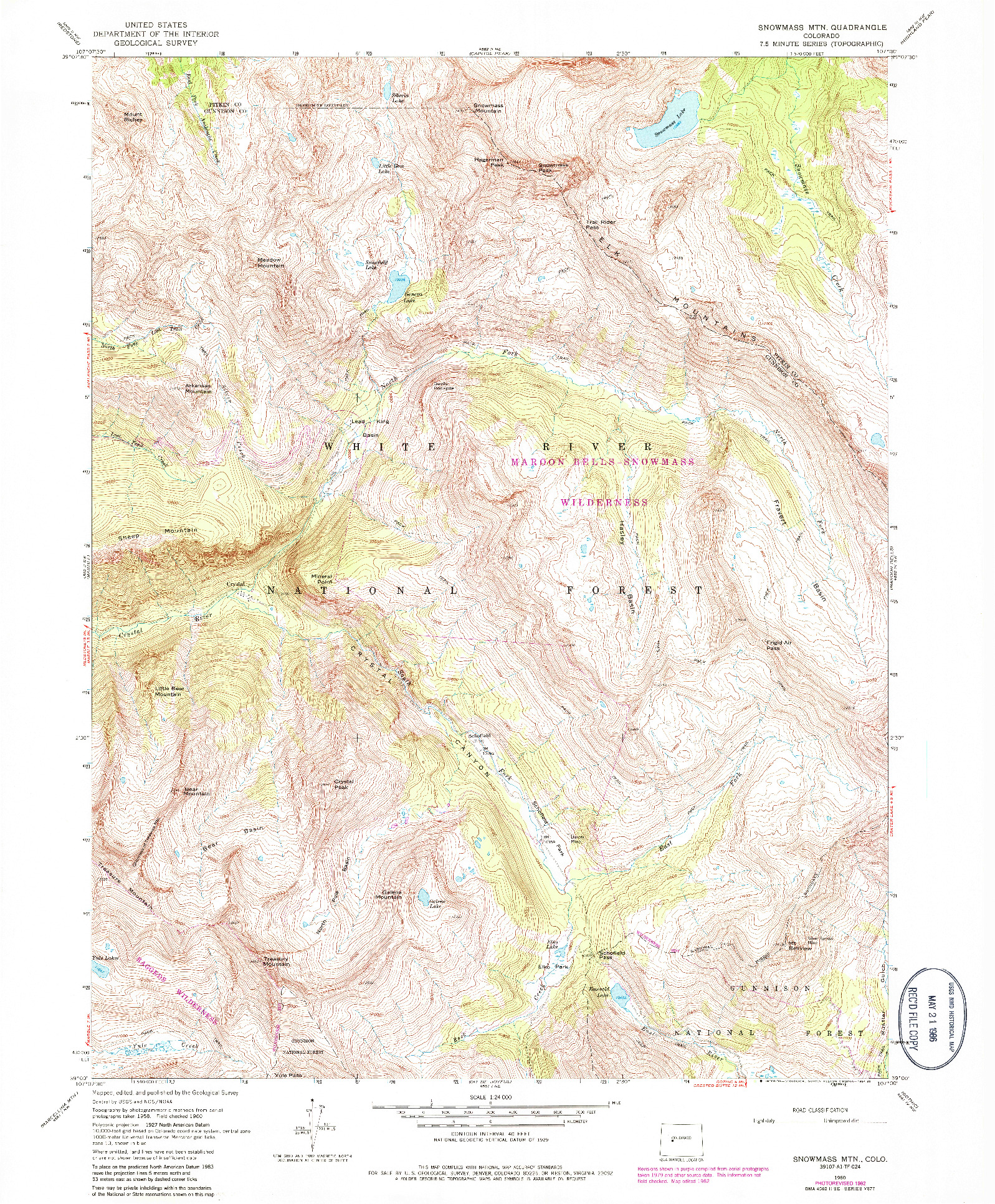 USGS 1:24000-SCALE QUADRANGLE FOR SNOWMASS MTN, CO 1960