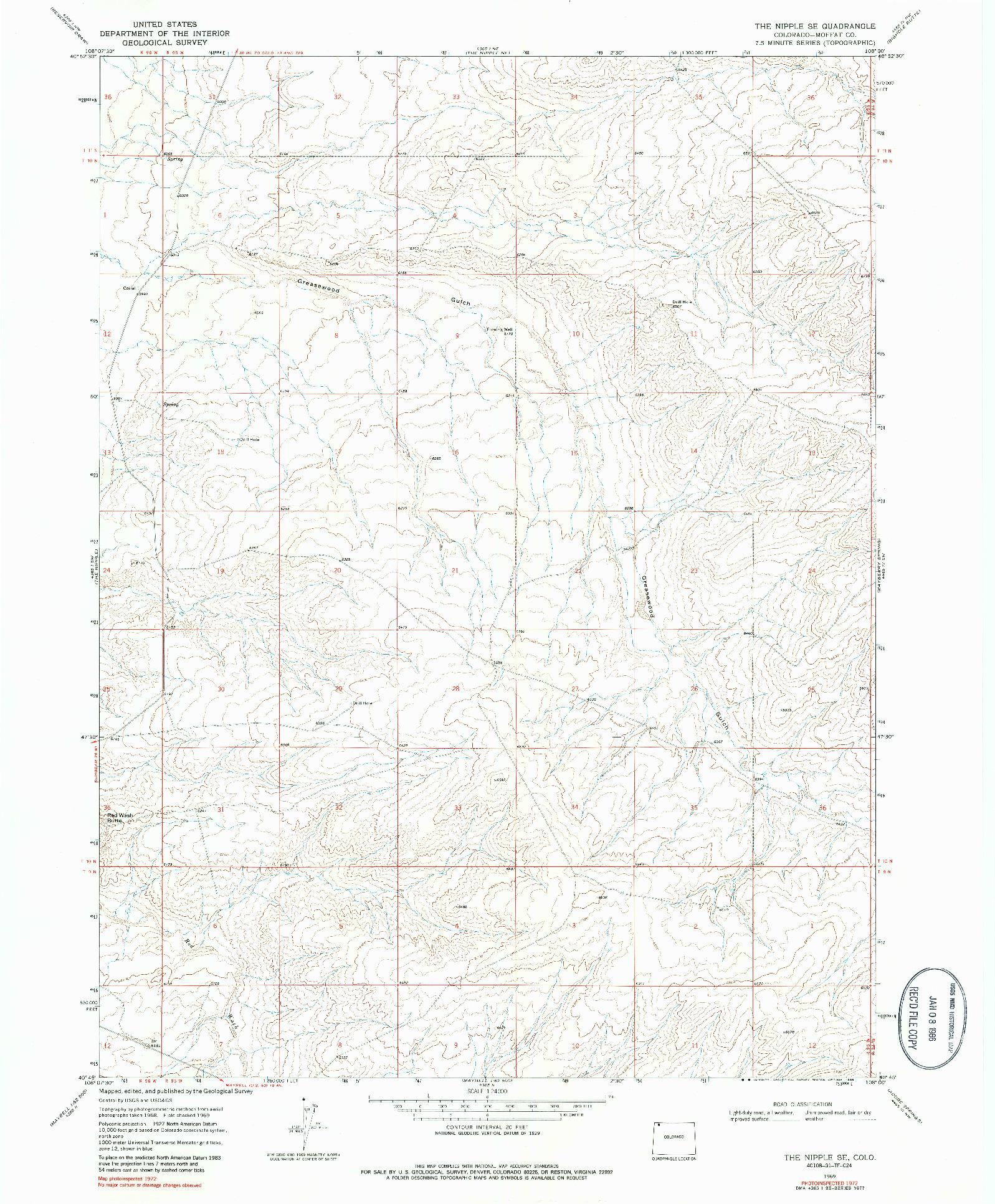 USGS 1:24000-SCALE QUADRANGLE FOR THE NIPPLE SE, CO 1969