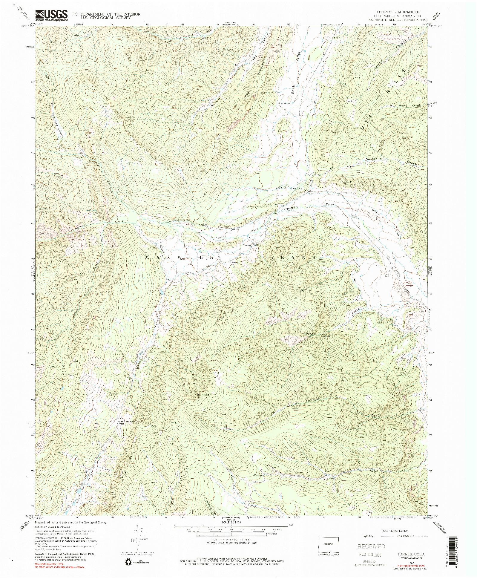 USGS 1:24000-SCALE QUADRANGLE FOR TORRES, CO 1967