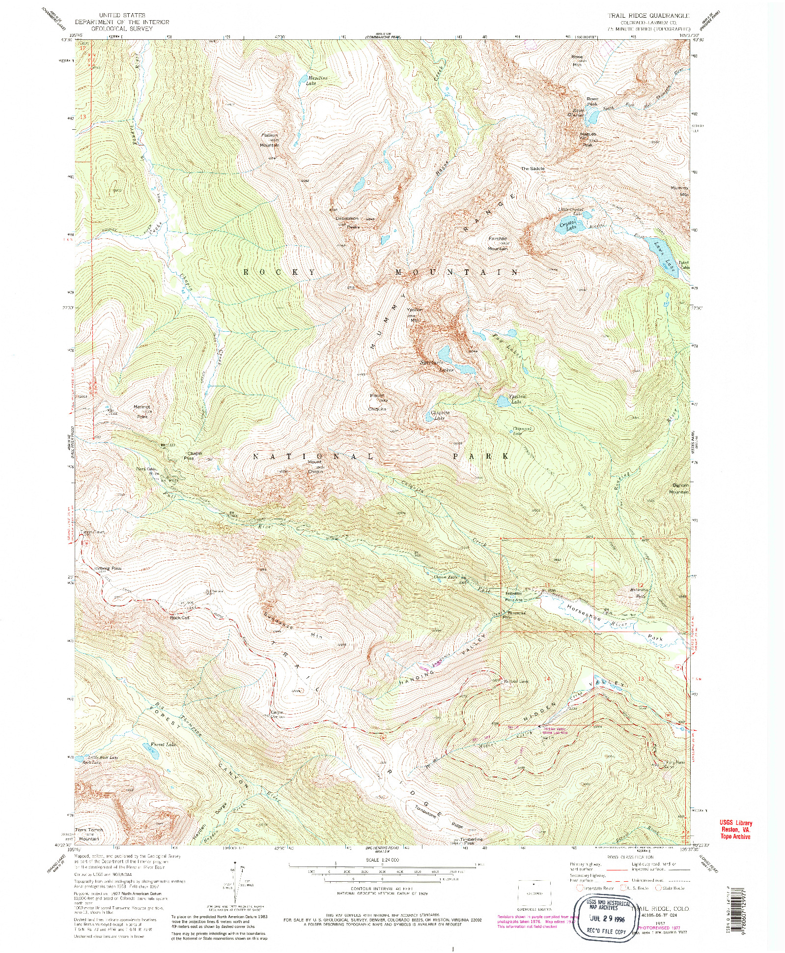 USGS 1:24000-SCALE QUADRANGLE FOR TRAIL RIDGE, CO 1957
