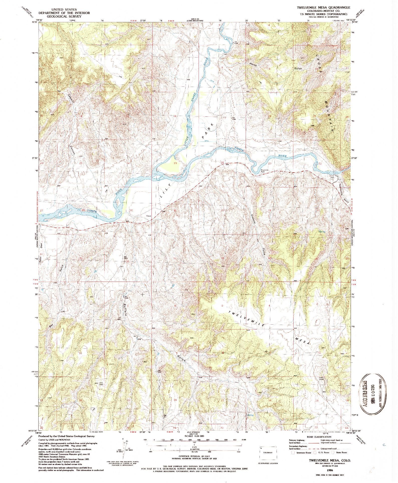 USGS 1:24000-SCALE QUADRANGLE FOR TWELVEMILE MESA, CO 1986
