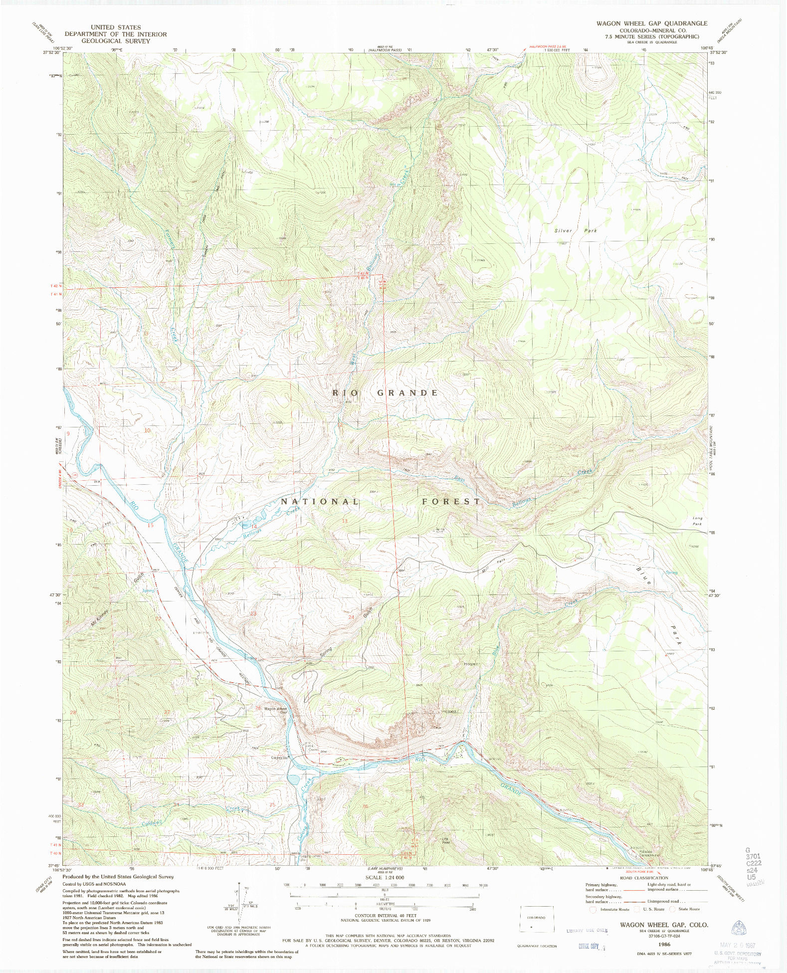 USGS 1:24000-SCALE QUADRANGLE FOR WAGON WHEEL GAP, CO 1986
