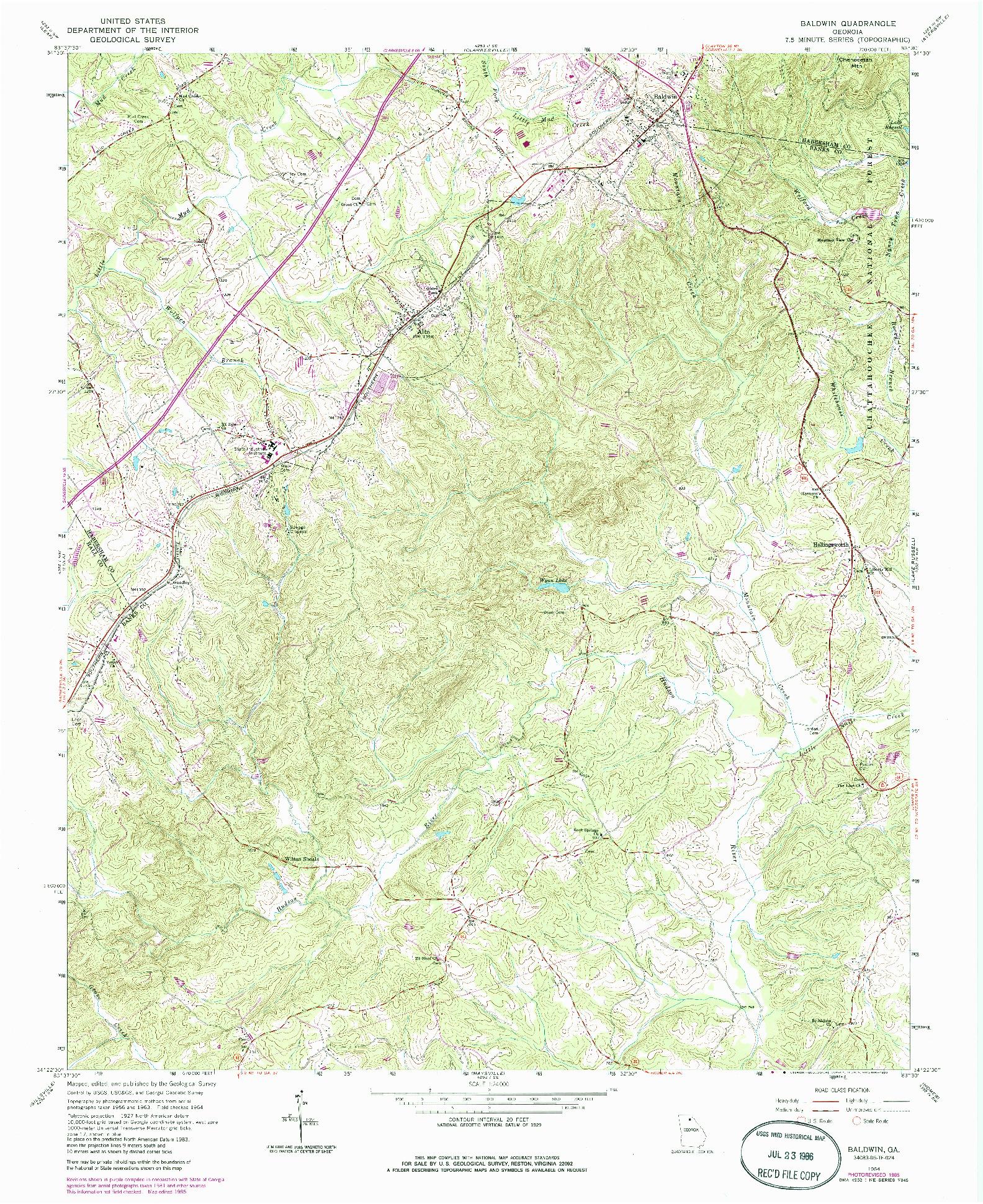 USGS 1:24000-SCALE QUADRANGLE FOR BALDWIN, GA 1964