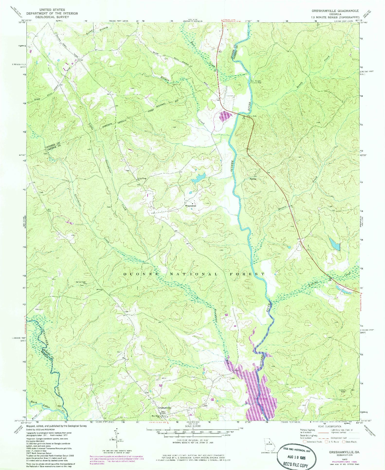 USGS 1:24000-SCALE QUADRANGLE FOR GRESHAMVILLE, GA 1972