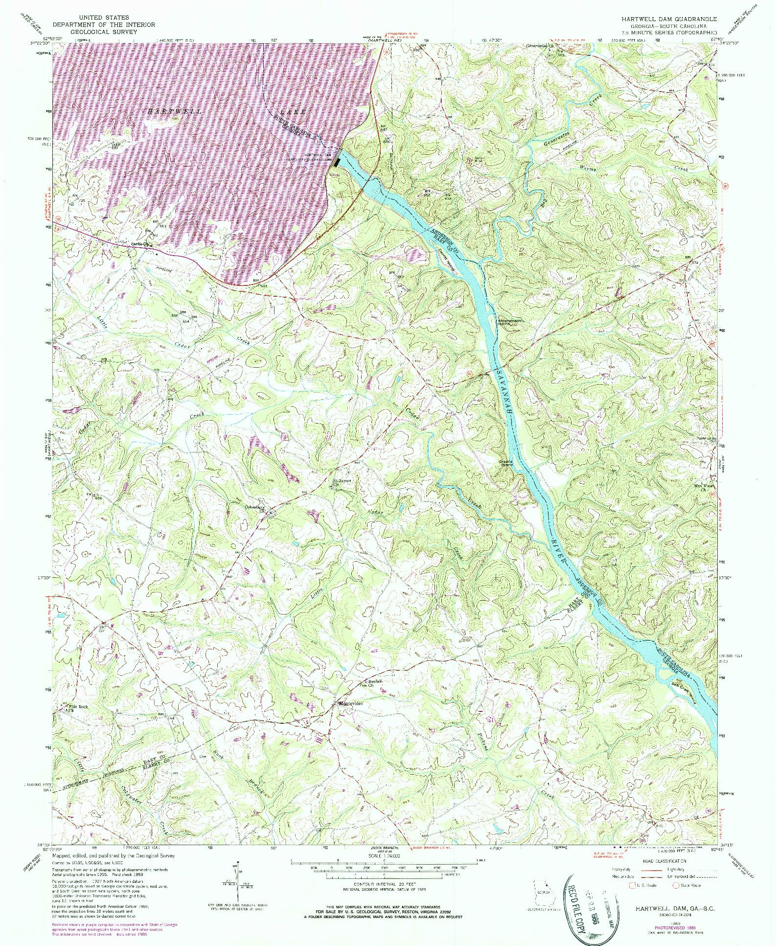 USGS 1:24000-SCALE QUADRANGLE FOR HARTWELL DAM, GA 1959