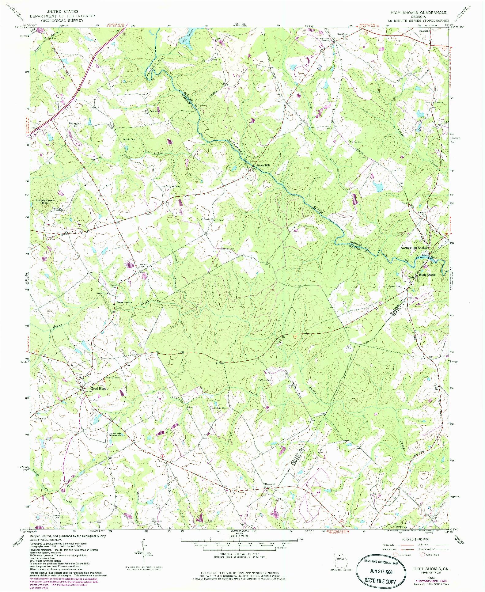 USGS 1:24000-SCALE QUADRANGLE FOR HIGH SHOALS, GA 1964