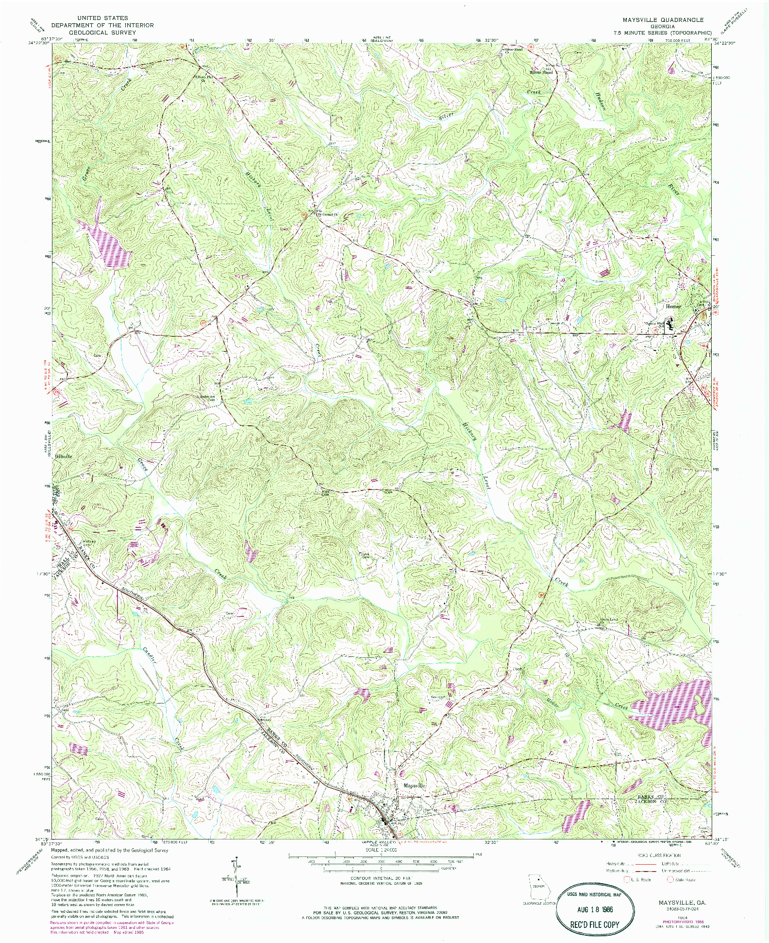 USGS 1:24000-SCALE QUADRANGLE FOR MAYSVILLE, GA 1964