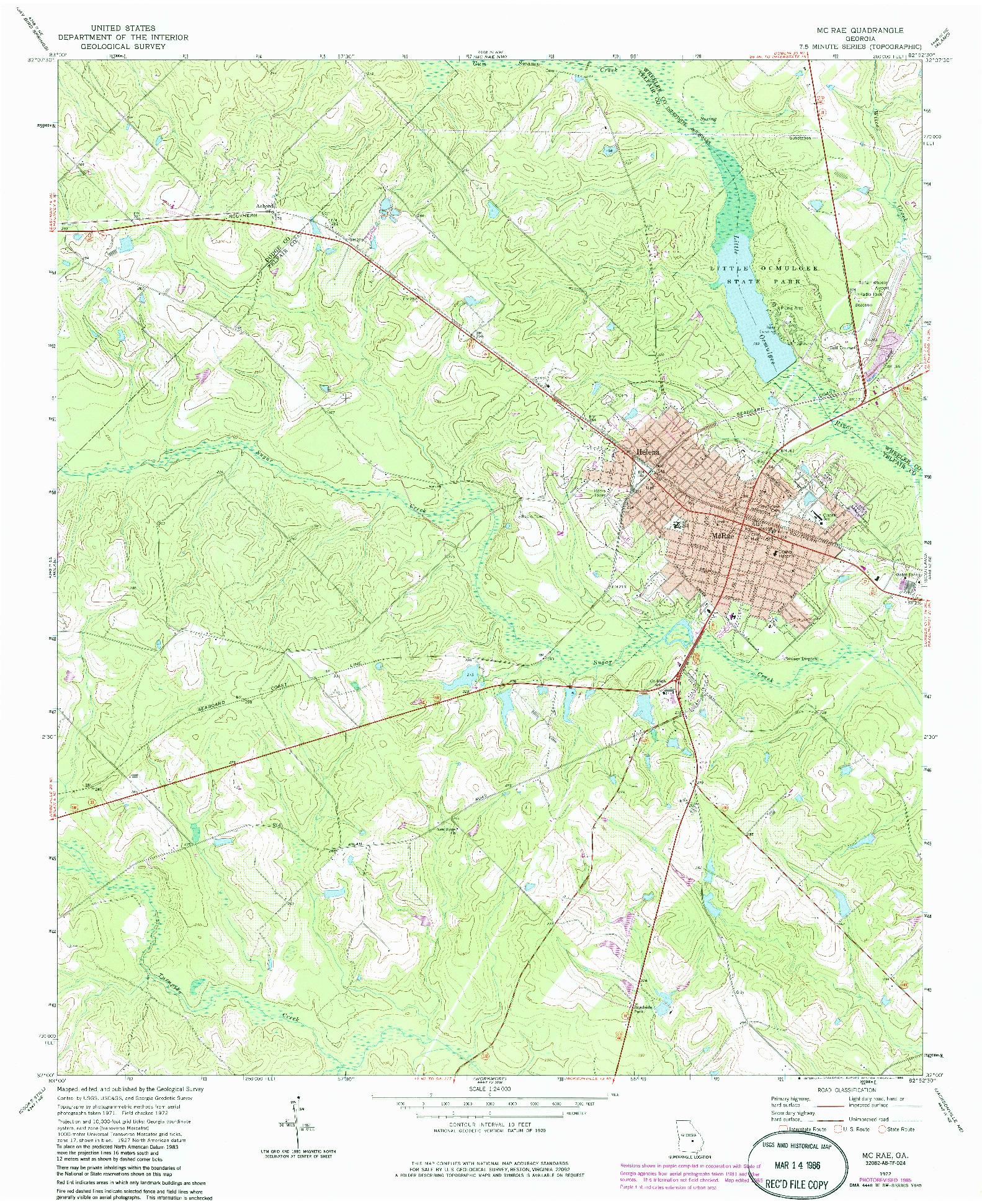 USGS 1:24000-SCALE QUADRANGLE FOR MC RAE, GA 1972