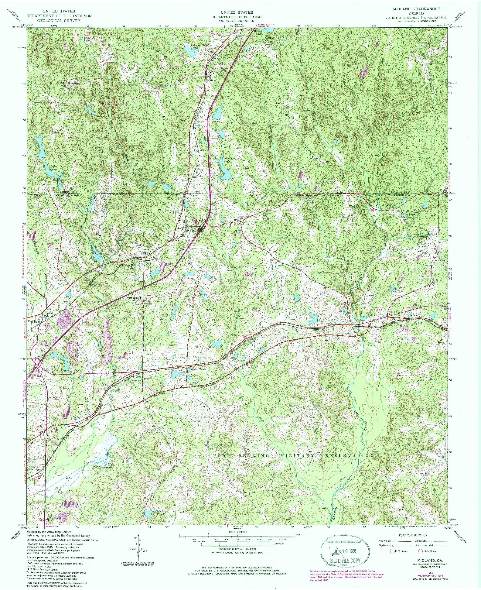 USGS 1:24000-SCALE QUADRANGLE FOR MIDLAND, GA 1955