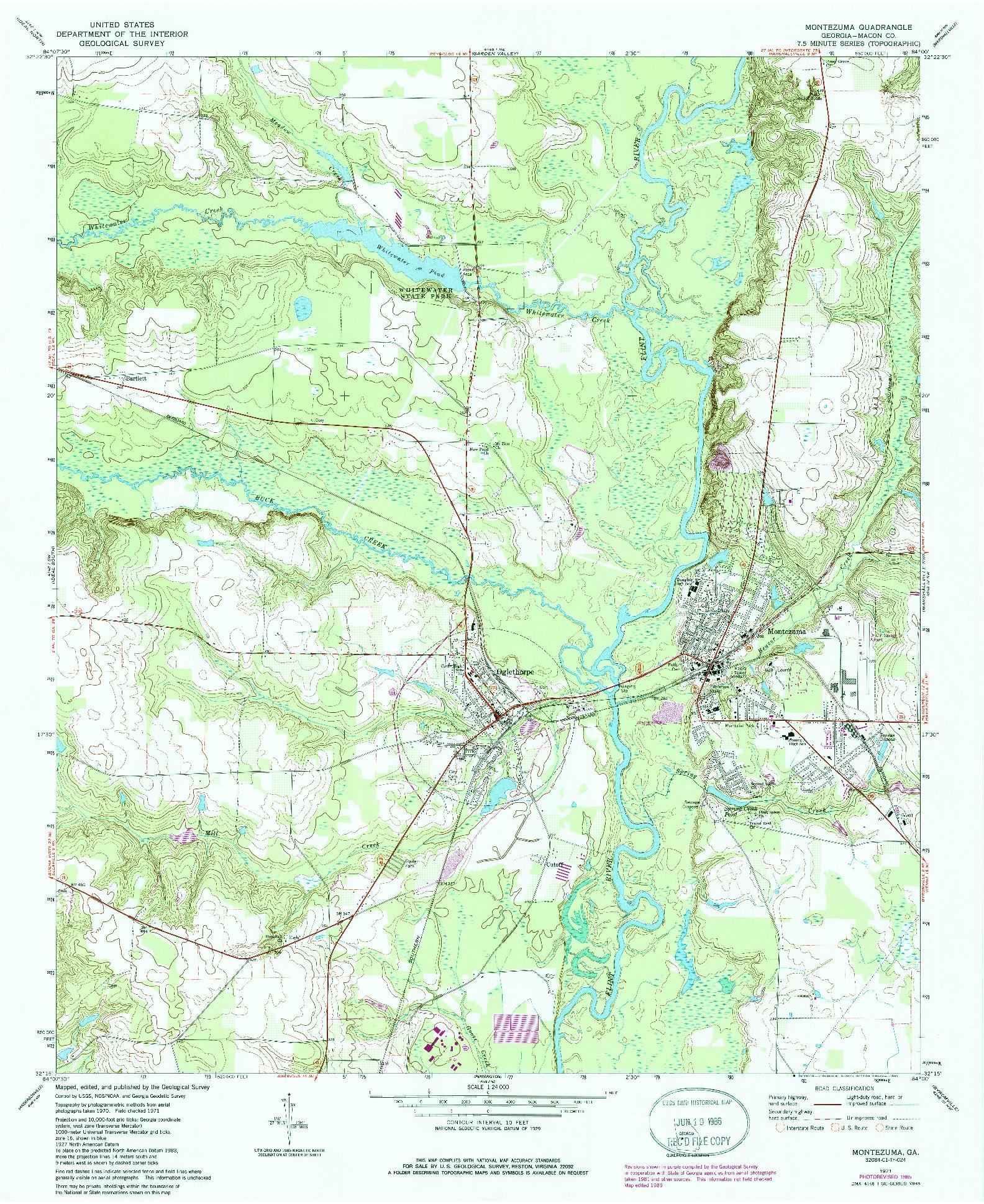 USGS 1:24000-SCALE QUADRANGLE FOR MONTEZUMA, GA 1971