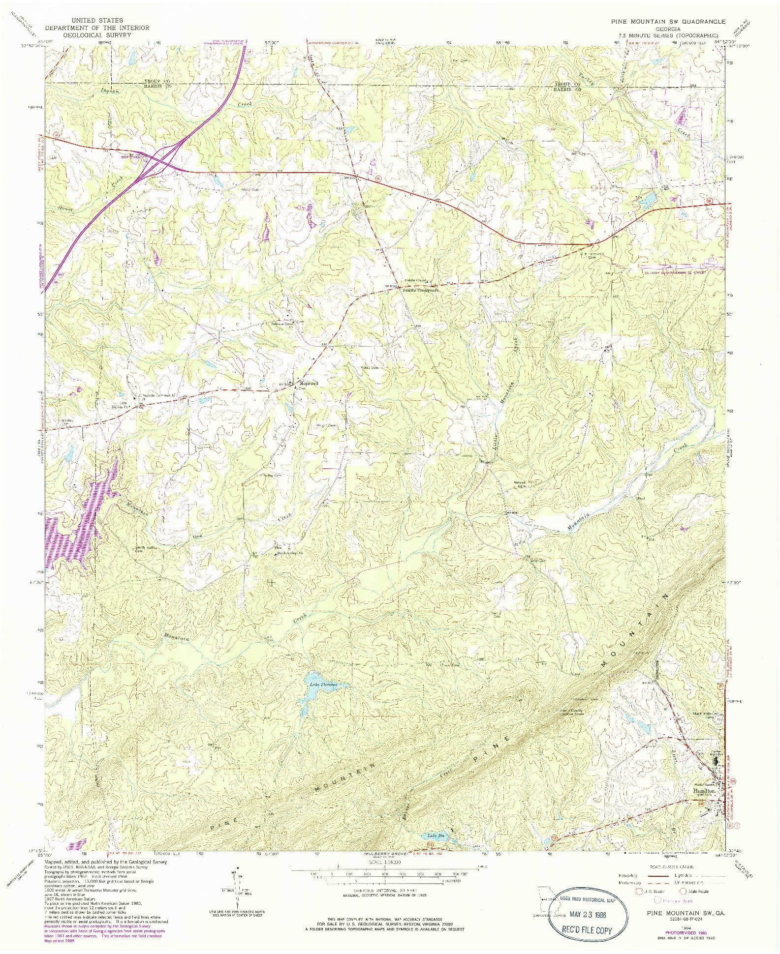 USGS 1:24000-SCALE QUADRANGLE FOR PINE MOUNTAIN SW, GA 1964