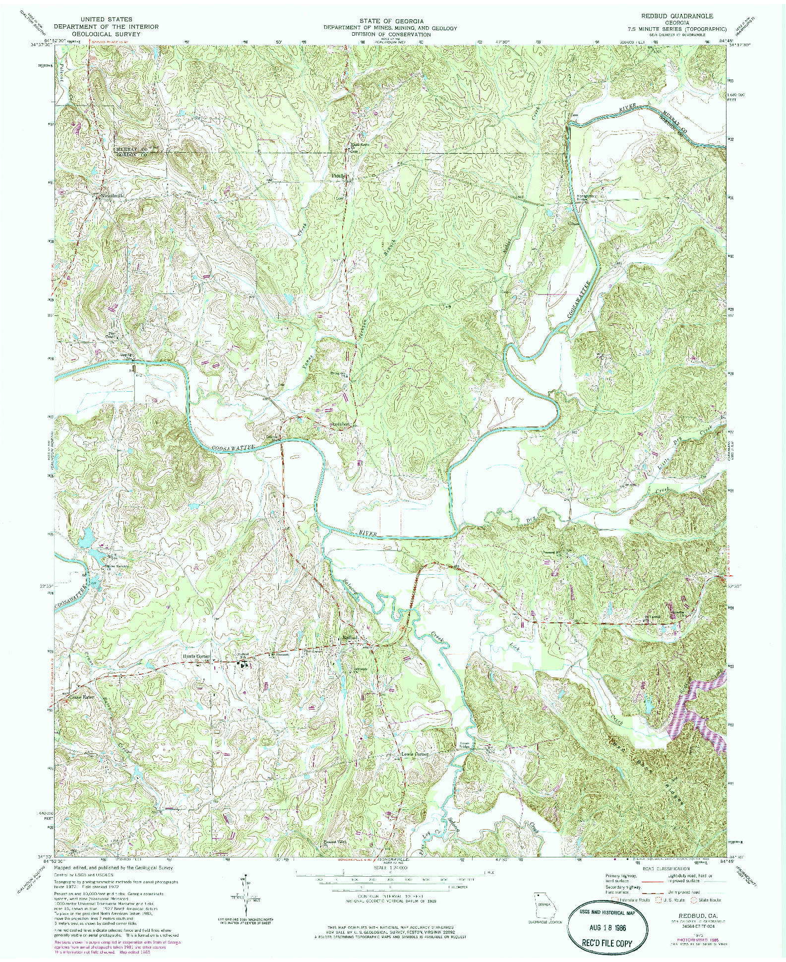USGS 1:24000-SCALE QUADRANGLE FOR REDBUD, GA 1972