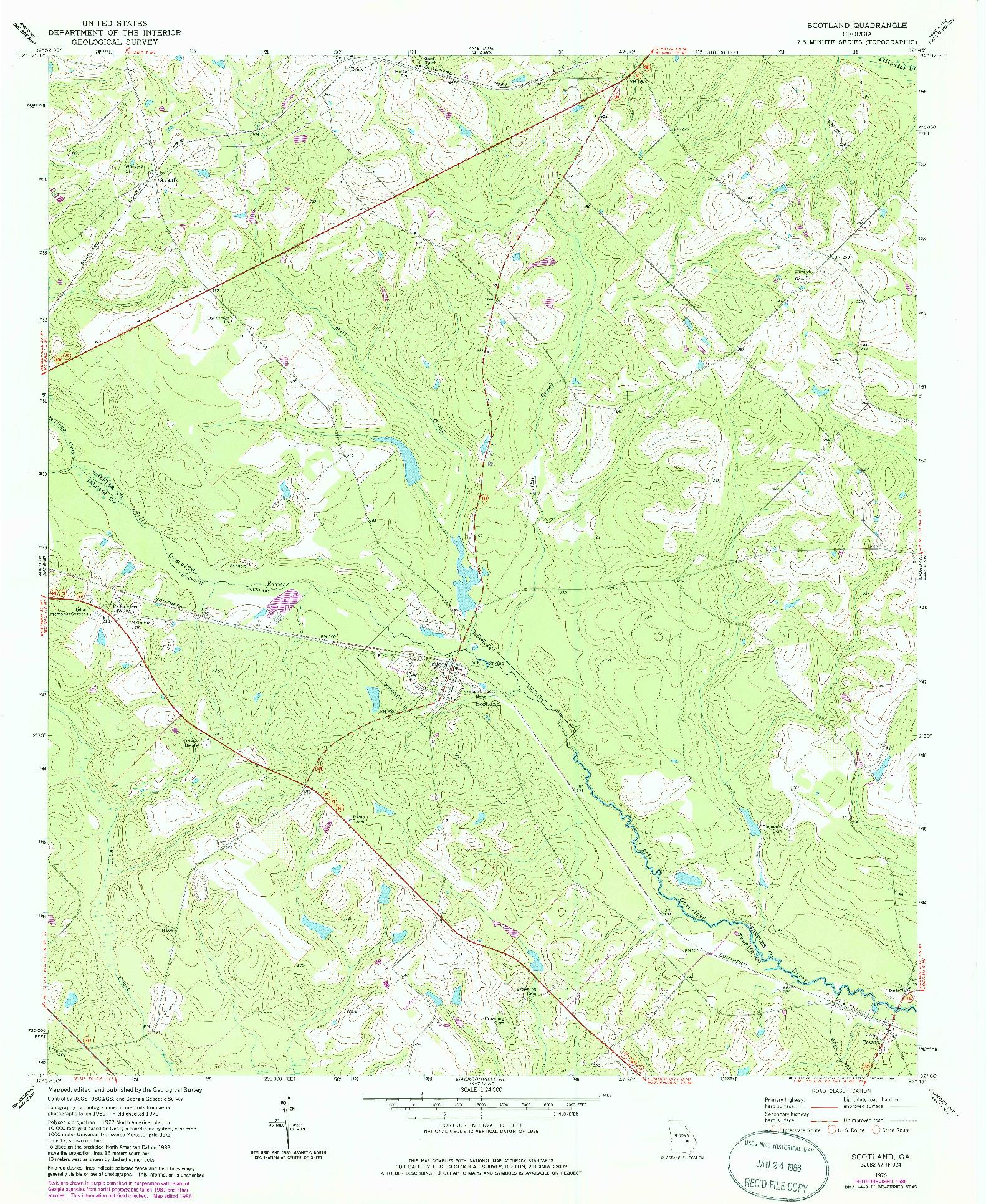 USGS 1:24000-SCALE QUADRANGLE FOR SCOTLAND, GA 1970