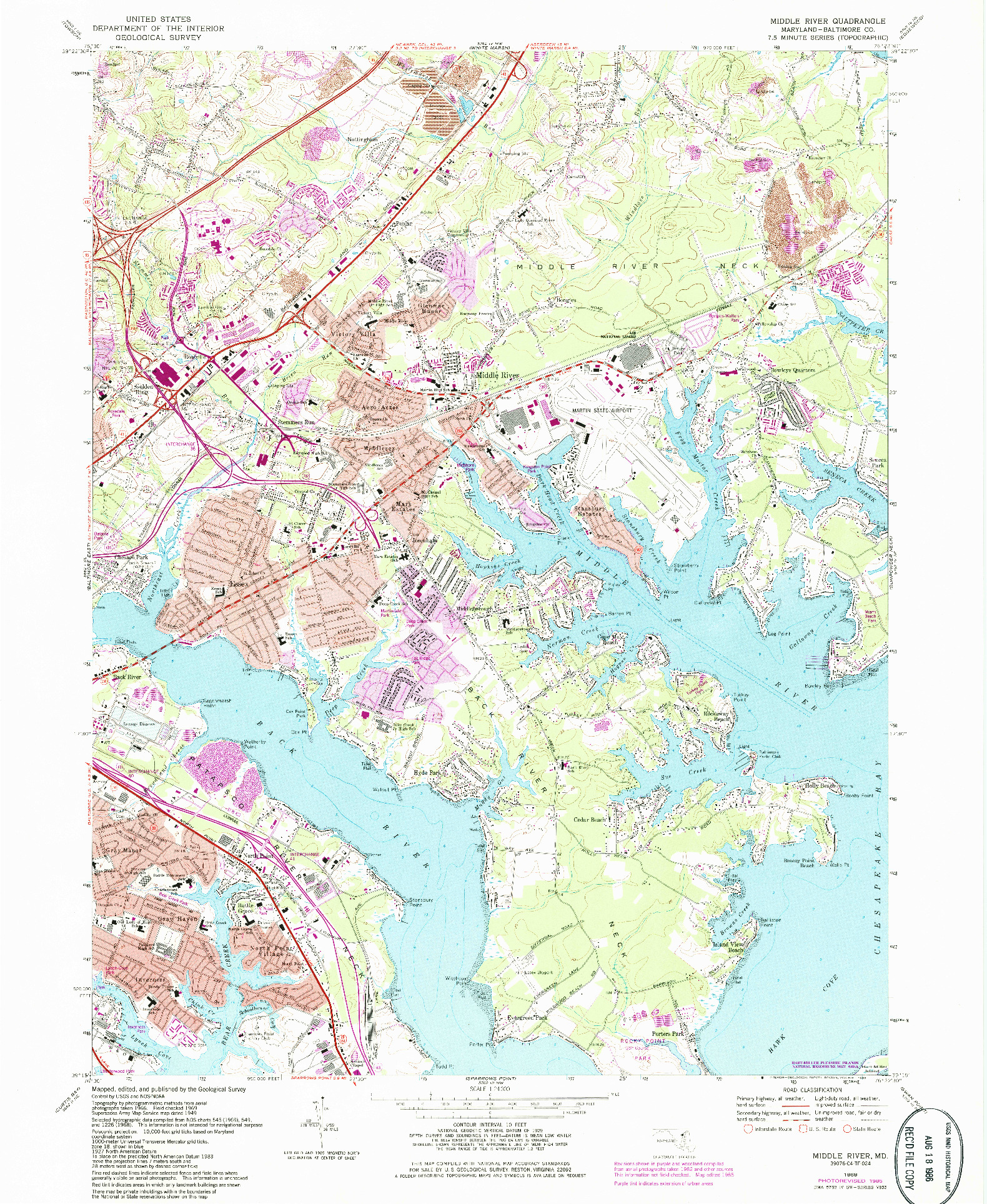 USGS 1:24000-SCALE QUADRANGLE FOR MIDDLE RIVER, MD 1969