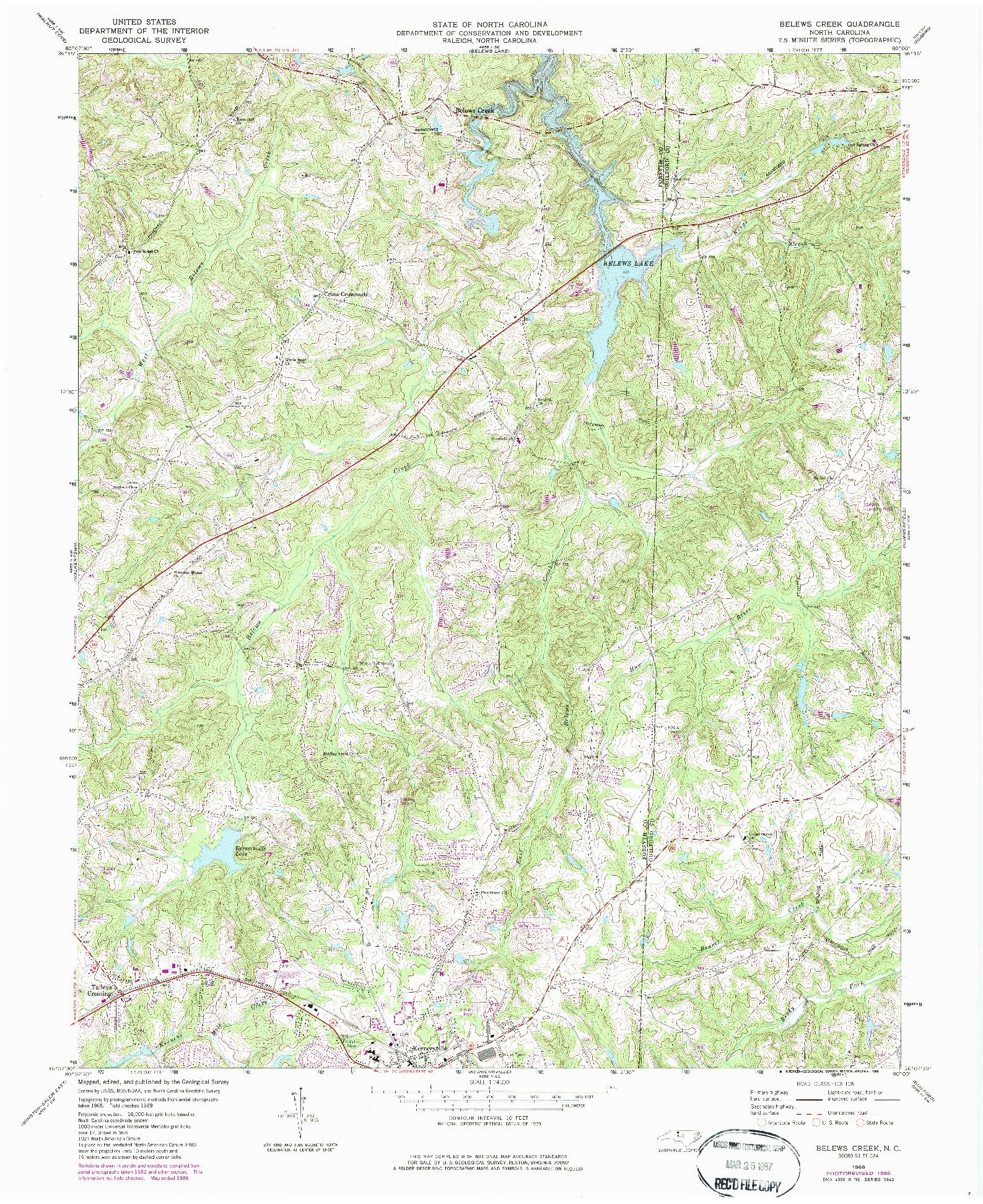 USGS 1:24000-SCALE QUADRANGLE FOR BELEWS CREEK, NC 1969