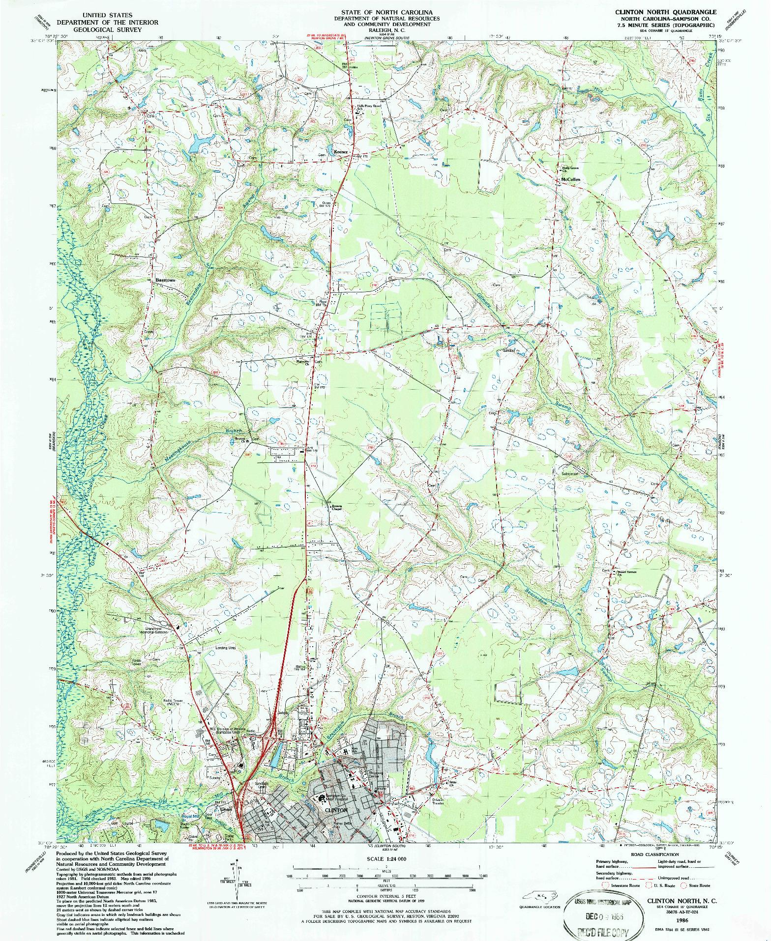 USGS 1:24000-SCALE QUADRANGLE FOR CLINTON NORTH, NC 1986
