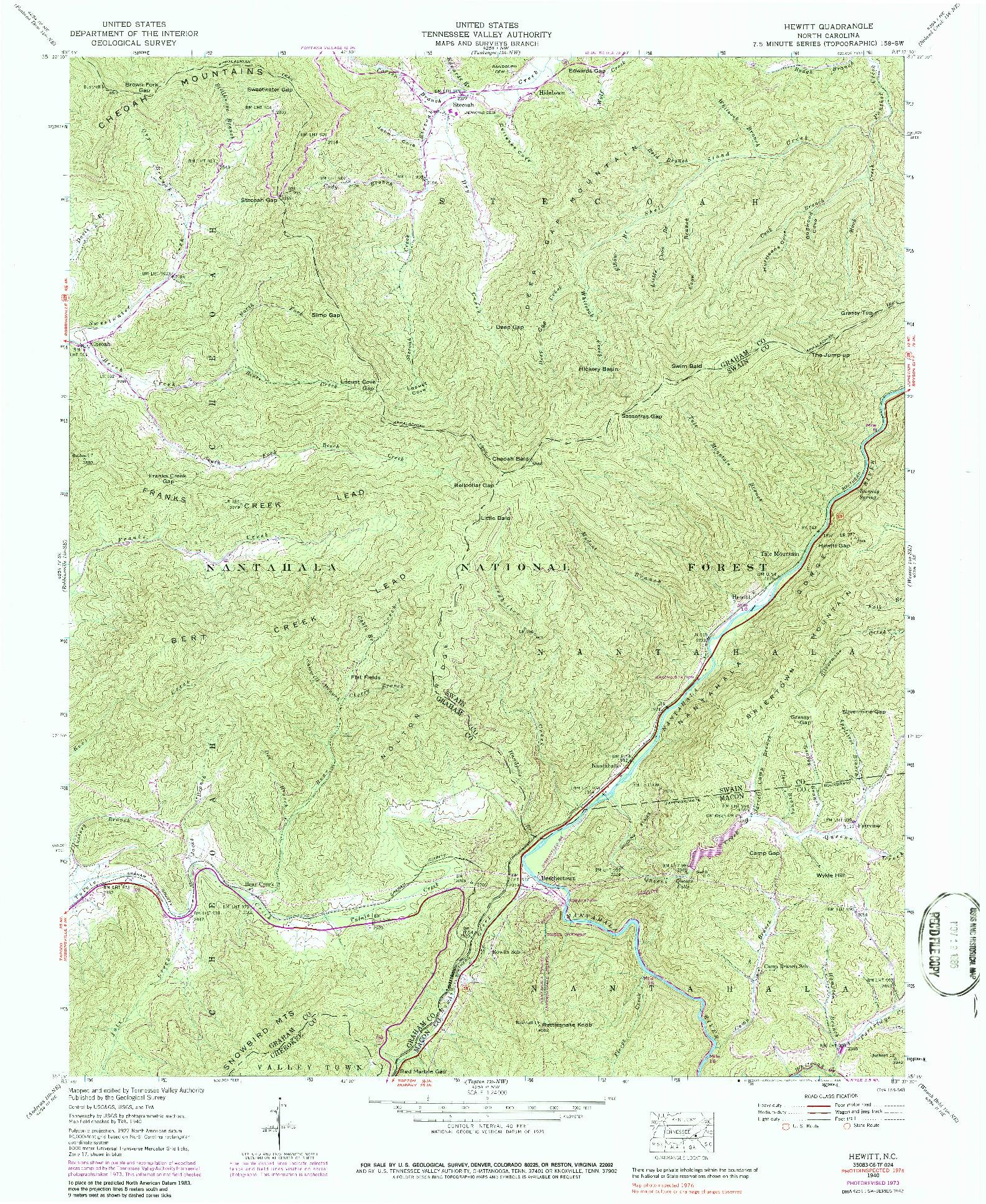 USGS 1:24000-SCALE QUADRANGLE FOR HEWITT, NC 1940