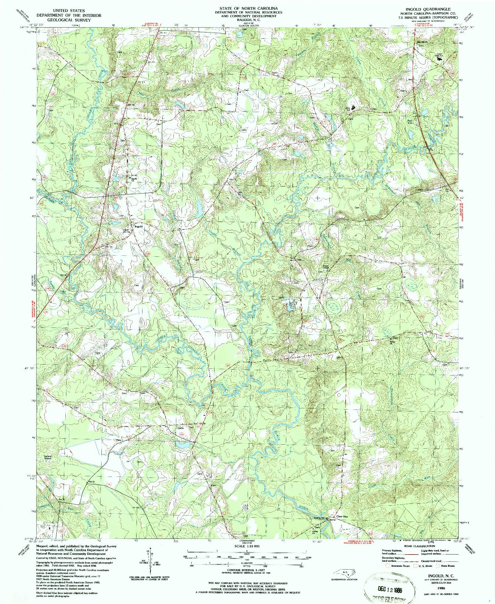 USGS 1:24000-SCALE QUADRANGLE FOR INGOLD, NC 1986