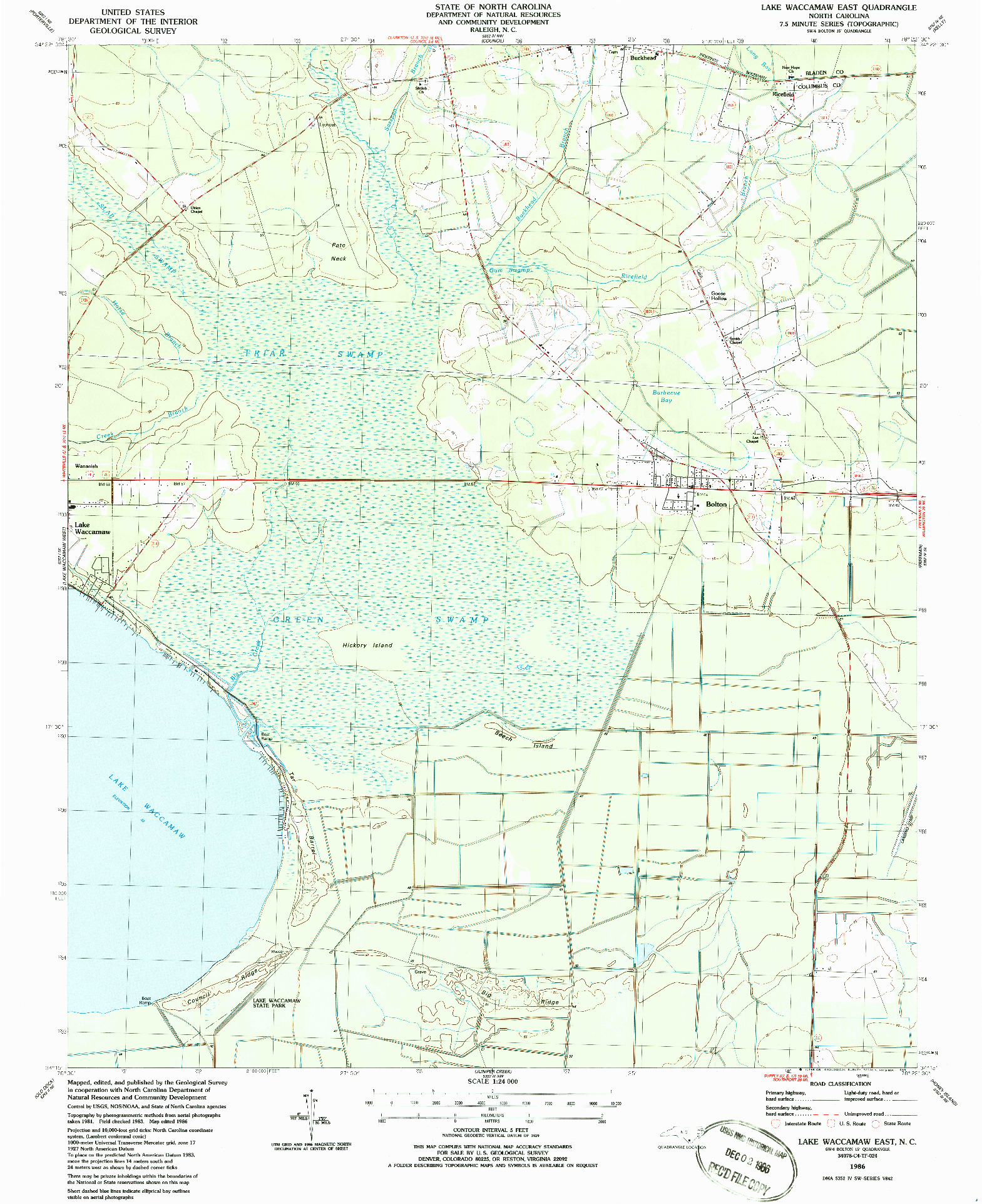 USGS 1:24000-SCALE QUADRANGLE FOR LAKE WACCAMAW EAST, NC 1986