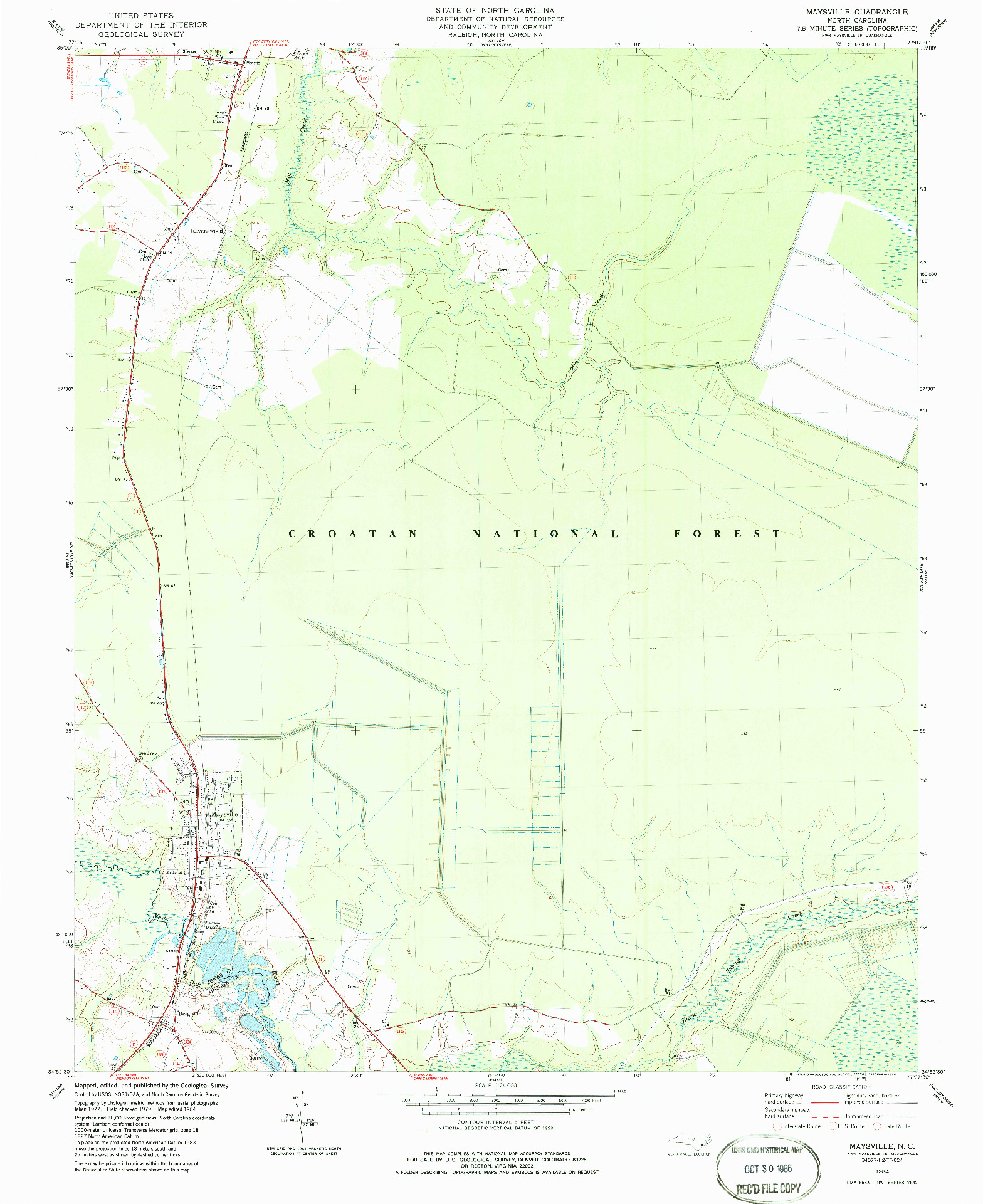 USGS 1:24000-SCALE QUADRANGLE FOR MAYSVILLE, NC 1984