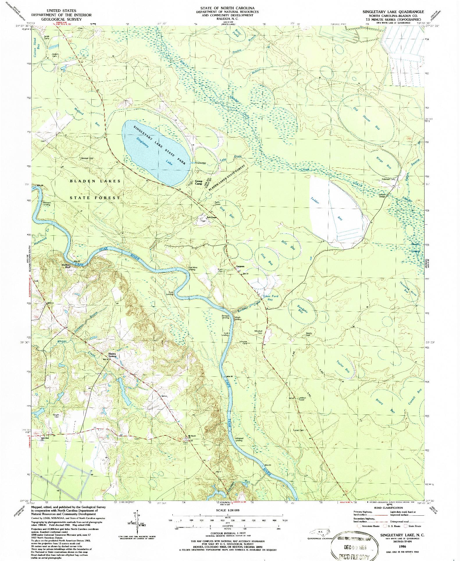 USGS 1:24000-SCALE QUADRANGLE FOR SINGLETARY LAKE, NC 1986