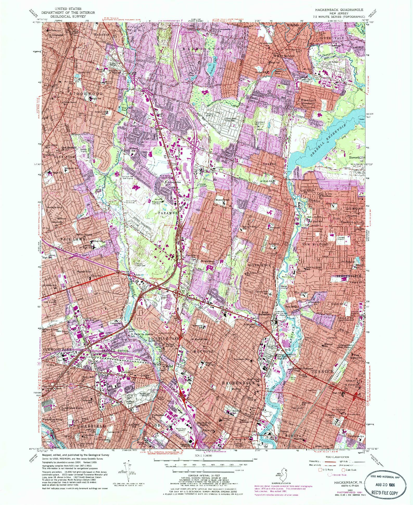 USGS 1:24000-SCALE QUADRANGLE FOR HACKENSACK, NJ 1955
