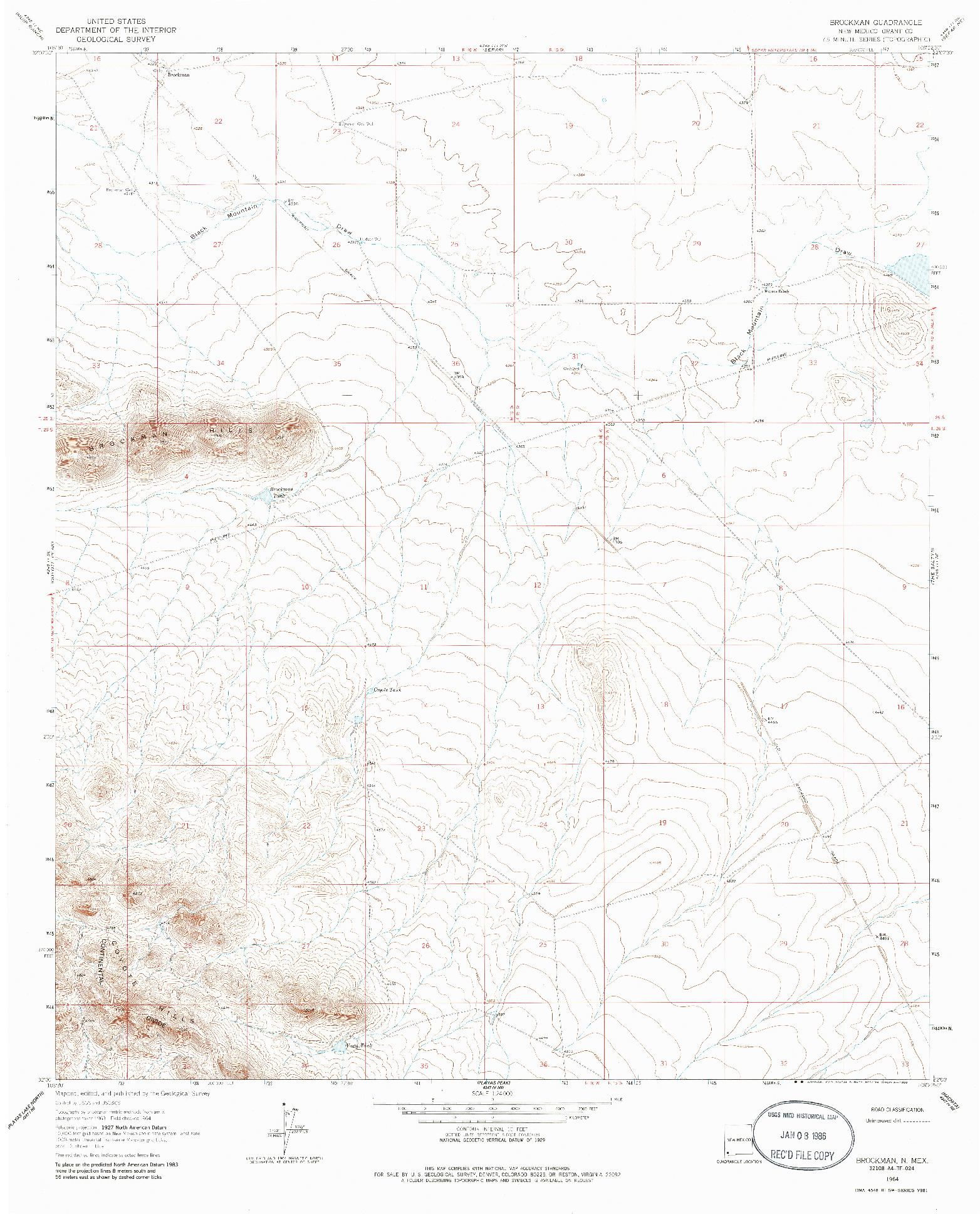 USGS 1:24000-SCALE QUADRANGLE FOR BROCKMAN, NM 1964
