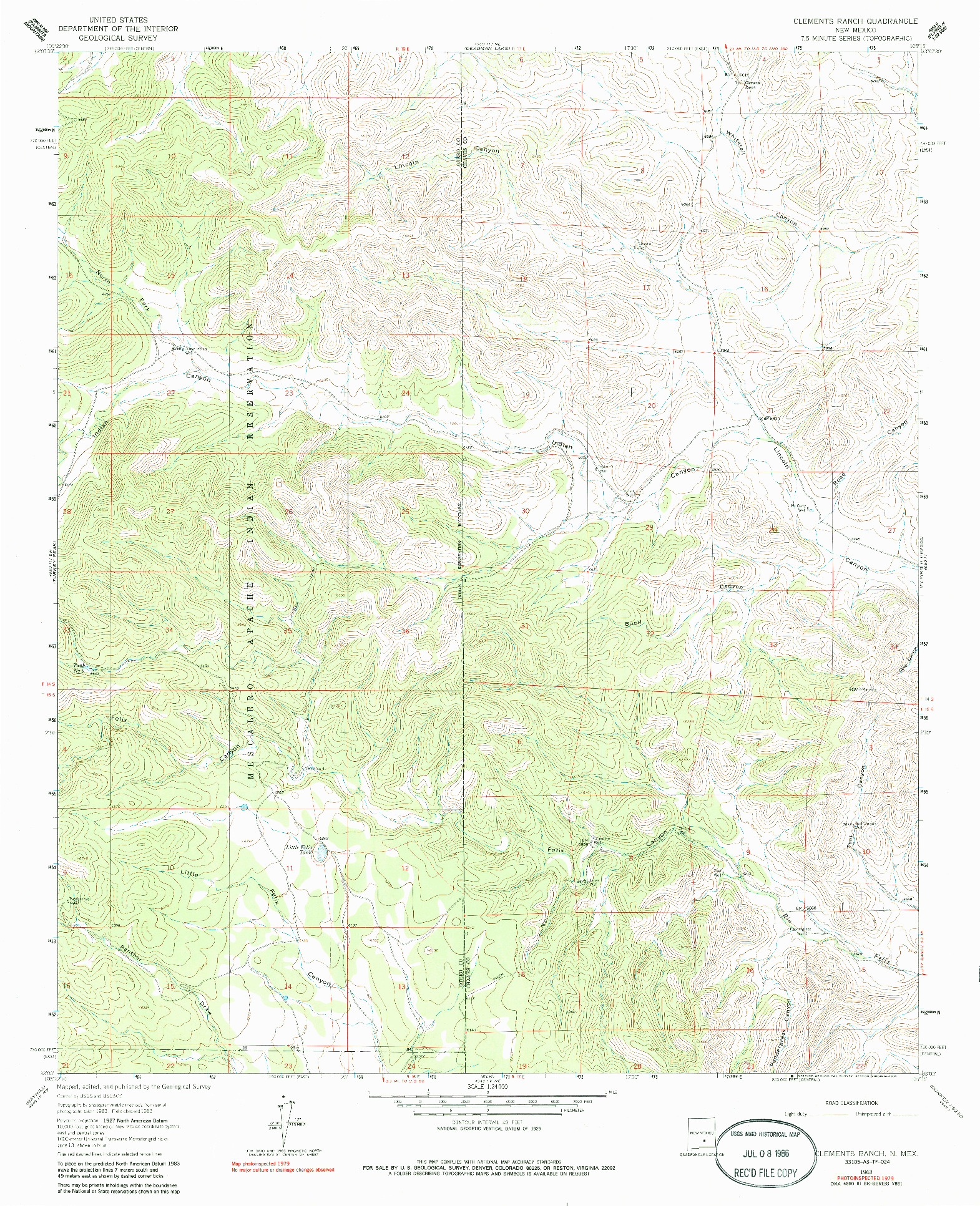 USGS 1:24000-SCALE QUADRANGLE FOR CLEMENTS RANCH, NM 1963