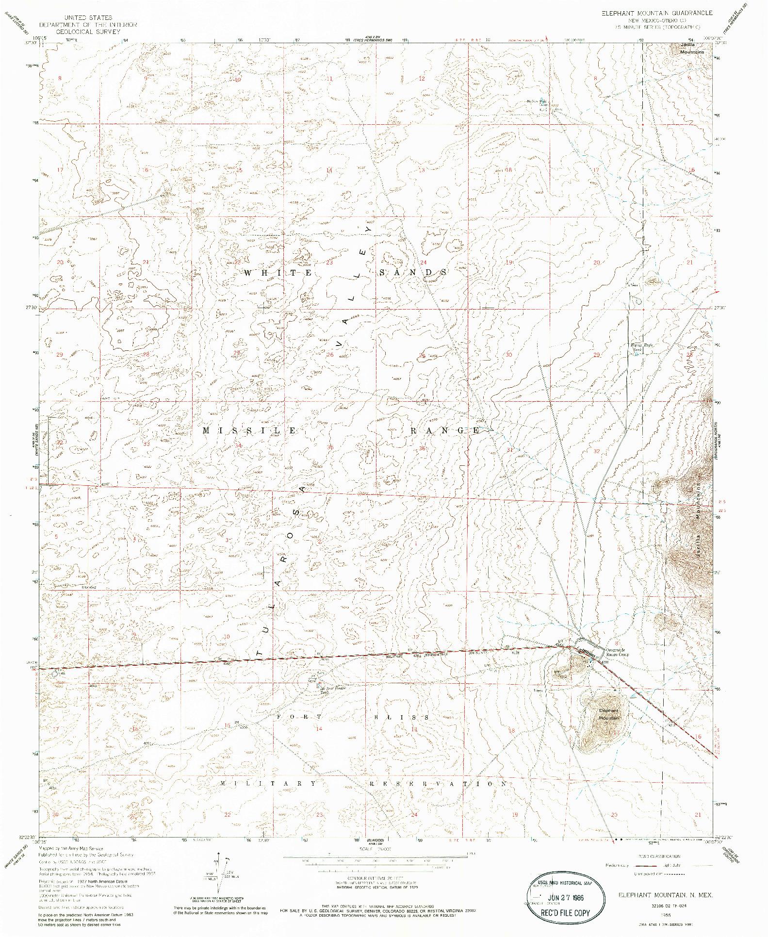 USGS 1:24000-SCALE QUADRANGLE FOR ELEPHANT MOUNTAIN, NM 1955
