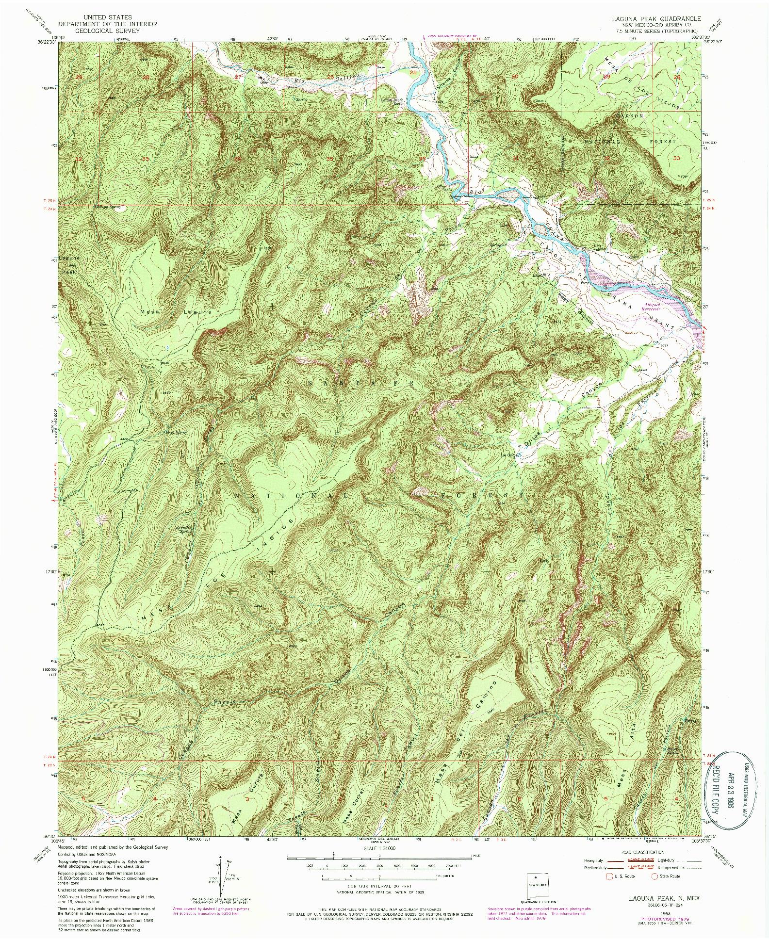 USGS 1:24000-SCALE QUADRANGLE FOR LAGUNA PEAK, NM 1953