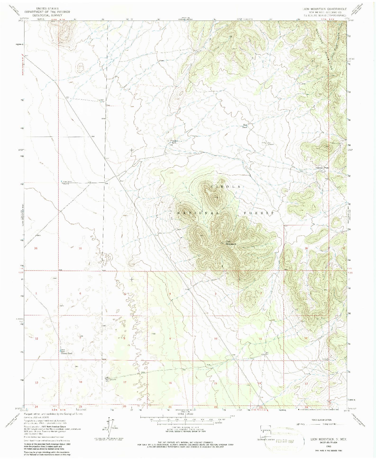 USGS 1:24000-SCALE QUADRANGLE FOR LION MOUNTAIN, NM 1965