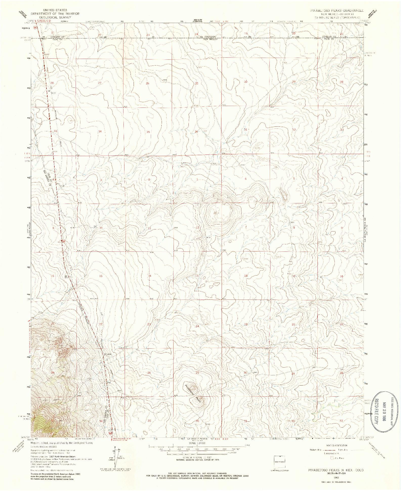 USGS 1:24000-SCALE QUADRANGLE FOR PINABETOSO PEAKS, NM 1963