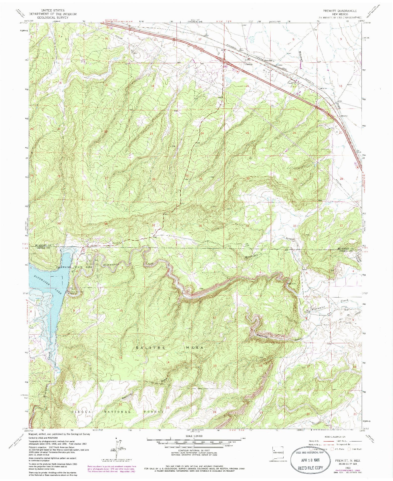 USGS 1:24000-SCALE QUADRANGLE FOR PREWITT, NM 1963