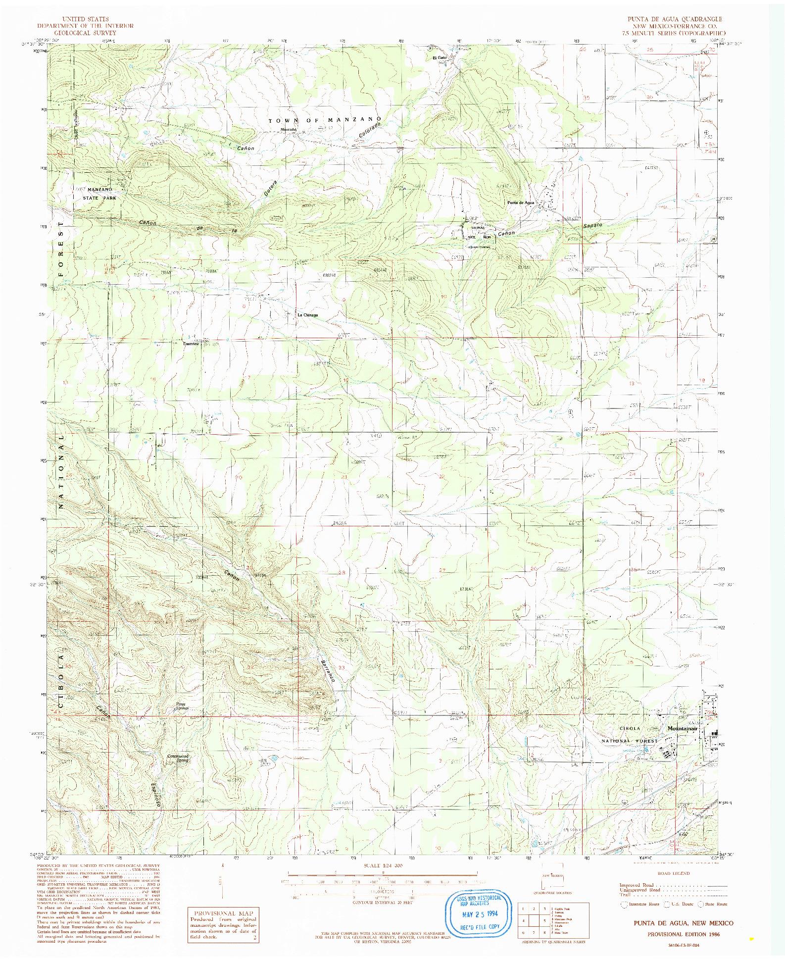 USGS 1:24000-SCALE QUADRANGLE FOR PUNTA DE AGUA, NM 1986