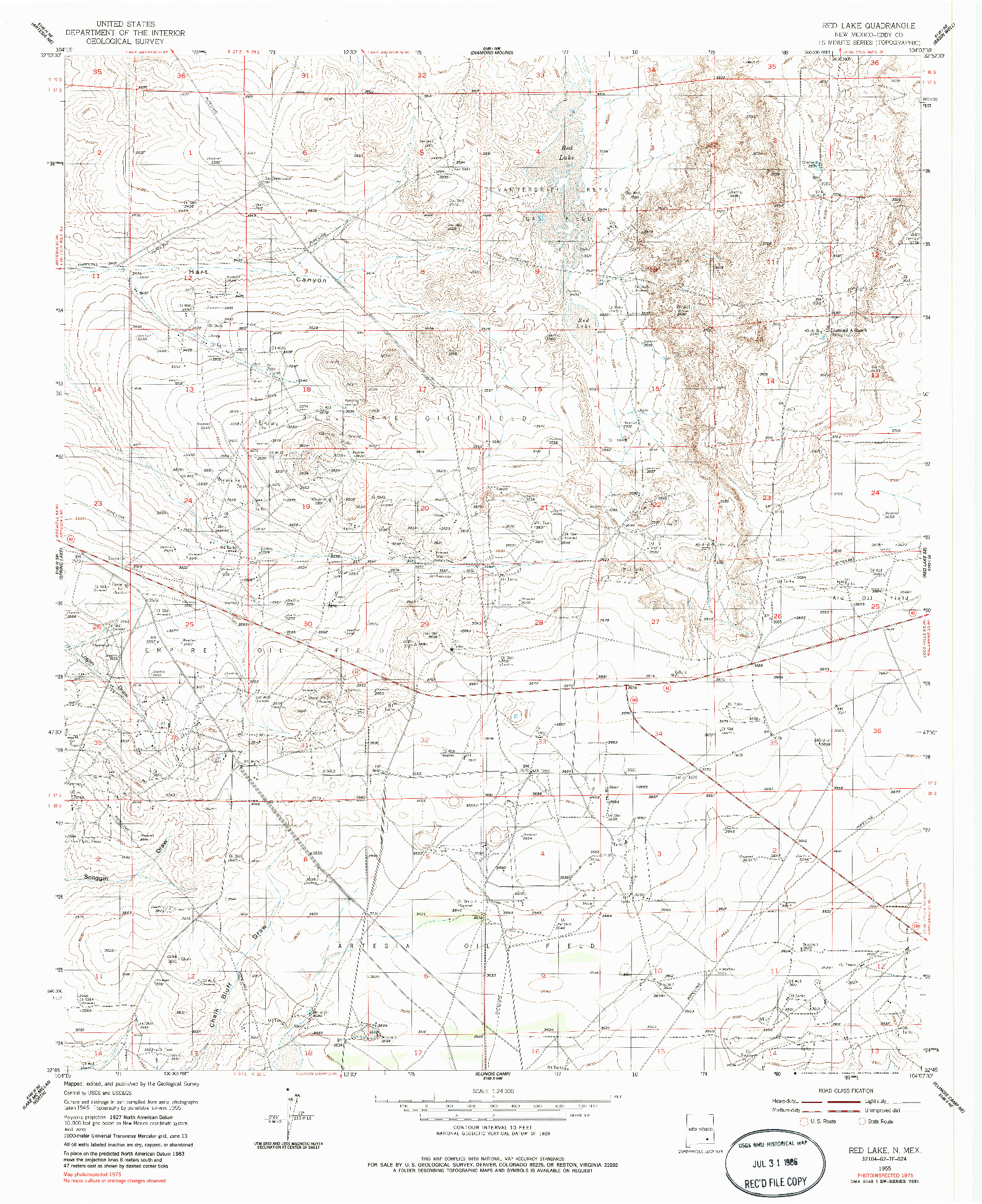 USGS 1:24000-SCALE QUADRANGLE FOR RED LAKE, NM 1955