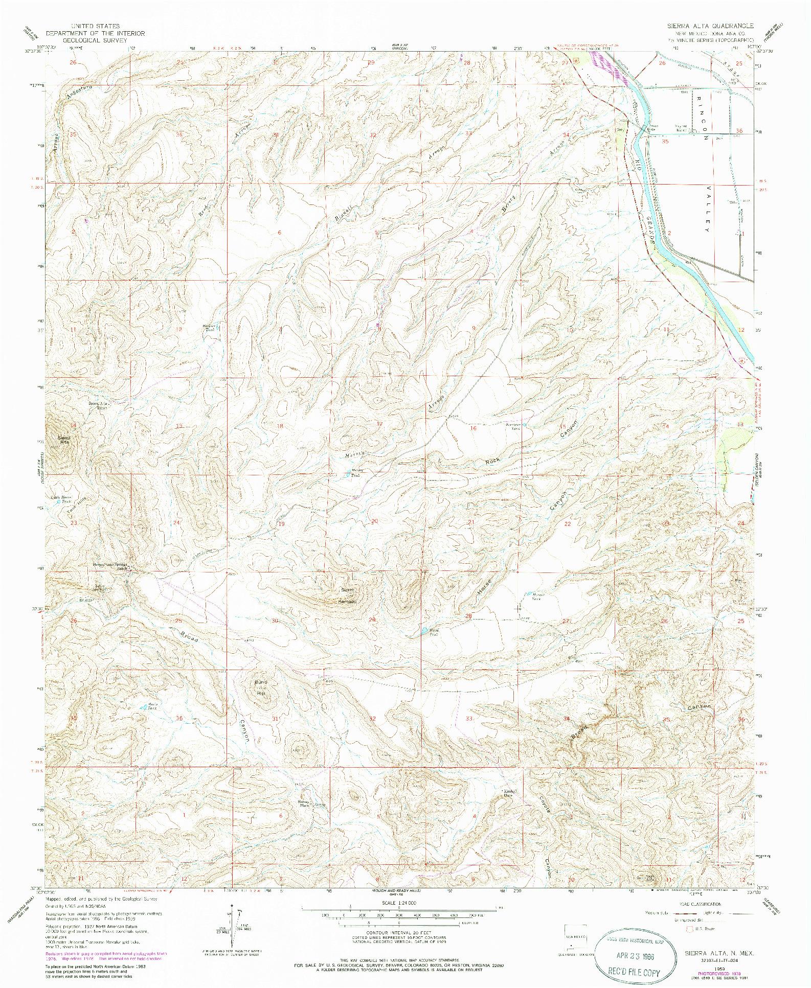 USGS 1:24000-SCALE QUADRANGLE FOR SIERRA ALTA, NM 1959