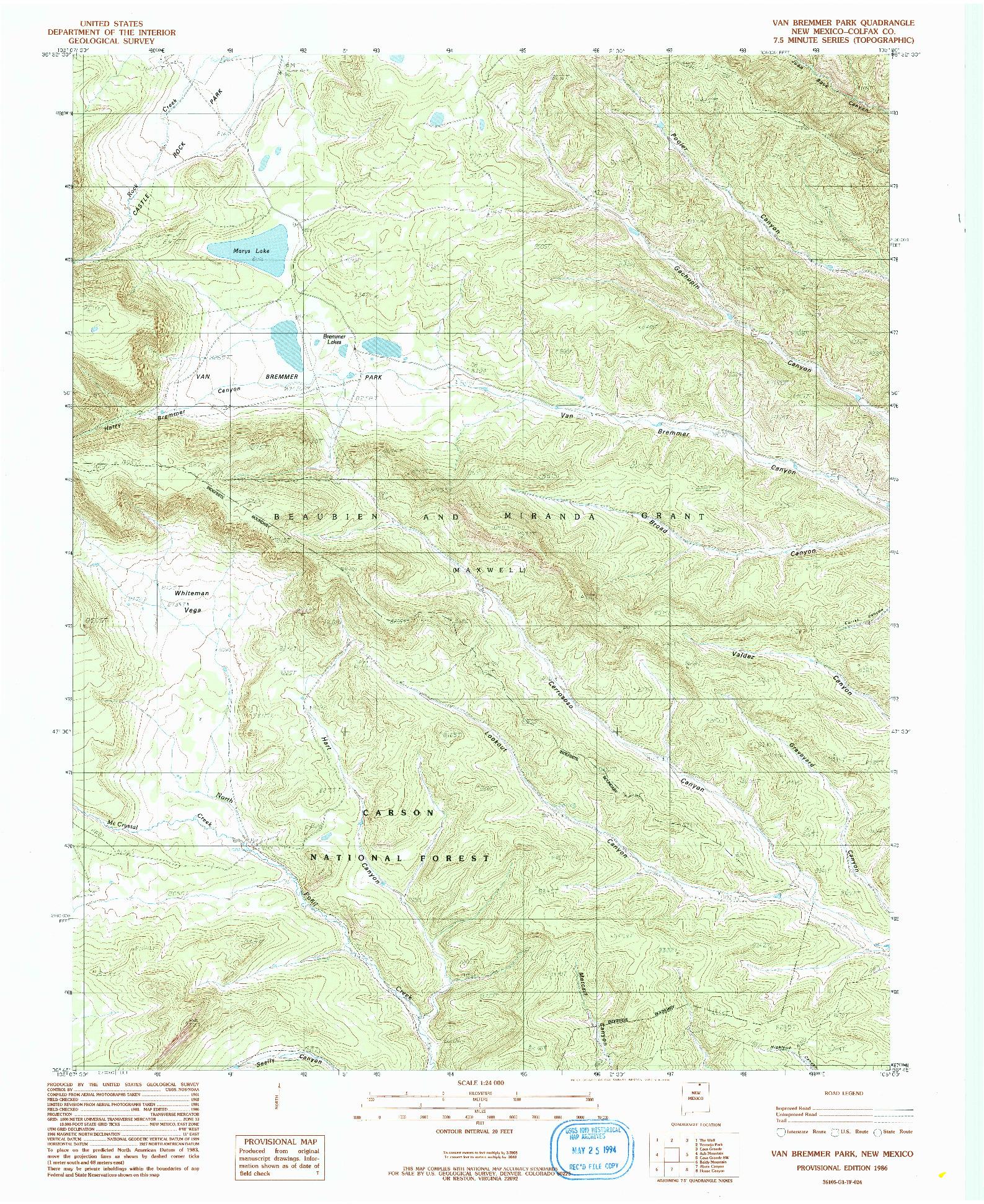 USGS 1:24000-SCALE QUADRANGLE FOR VAN BREMMER PARK, NM 1986